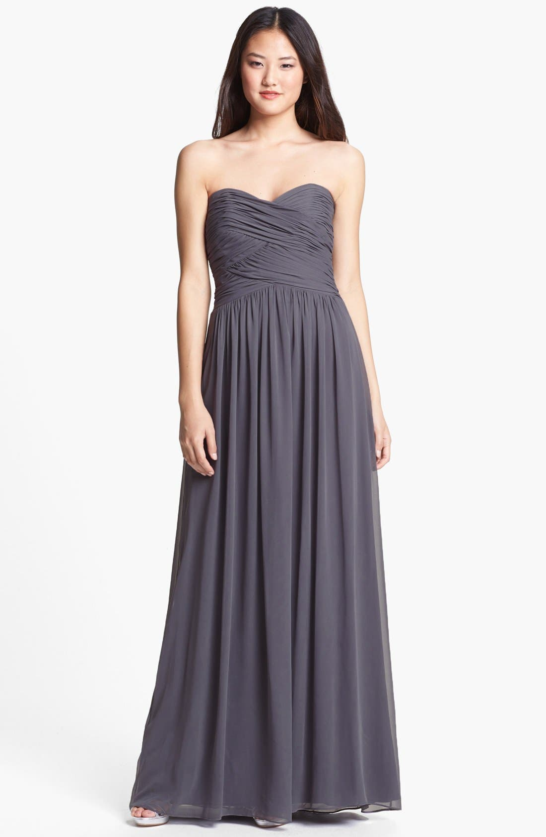 Alternate Image 1 Selected - Dessy Collection Strapless Ruched Chiffon Gown