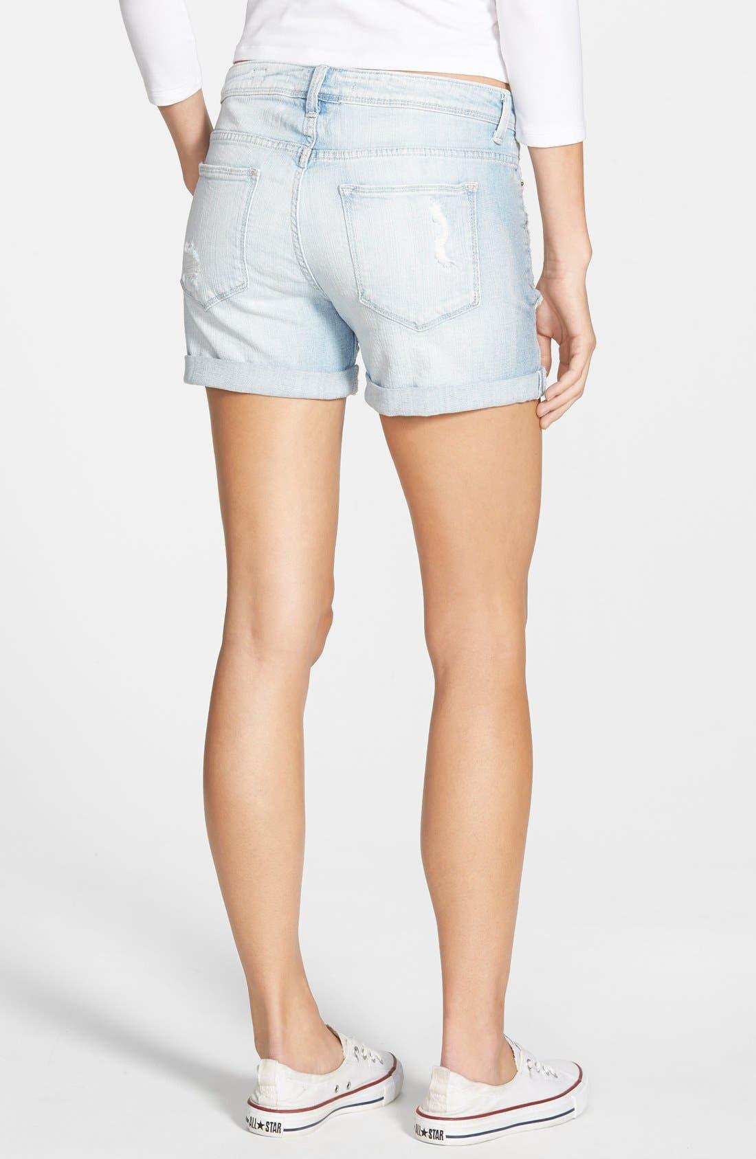Alternate Image 2  - SP Black Deconstructed Denim Shorts (Light Wash)