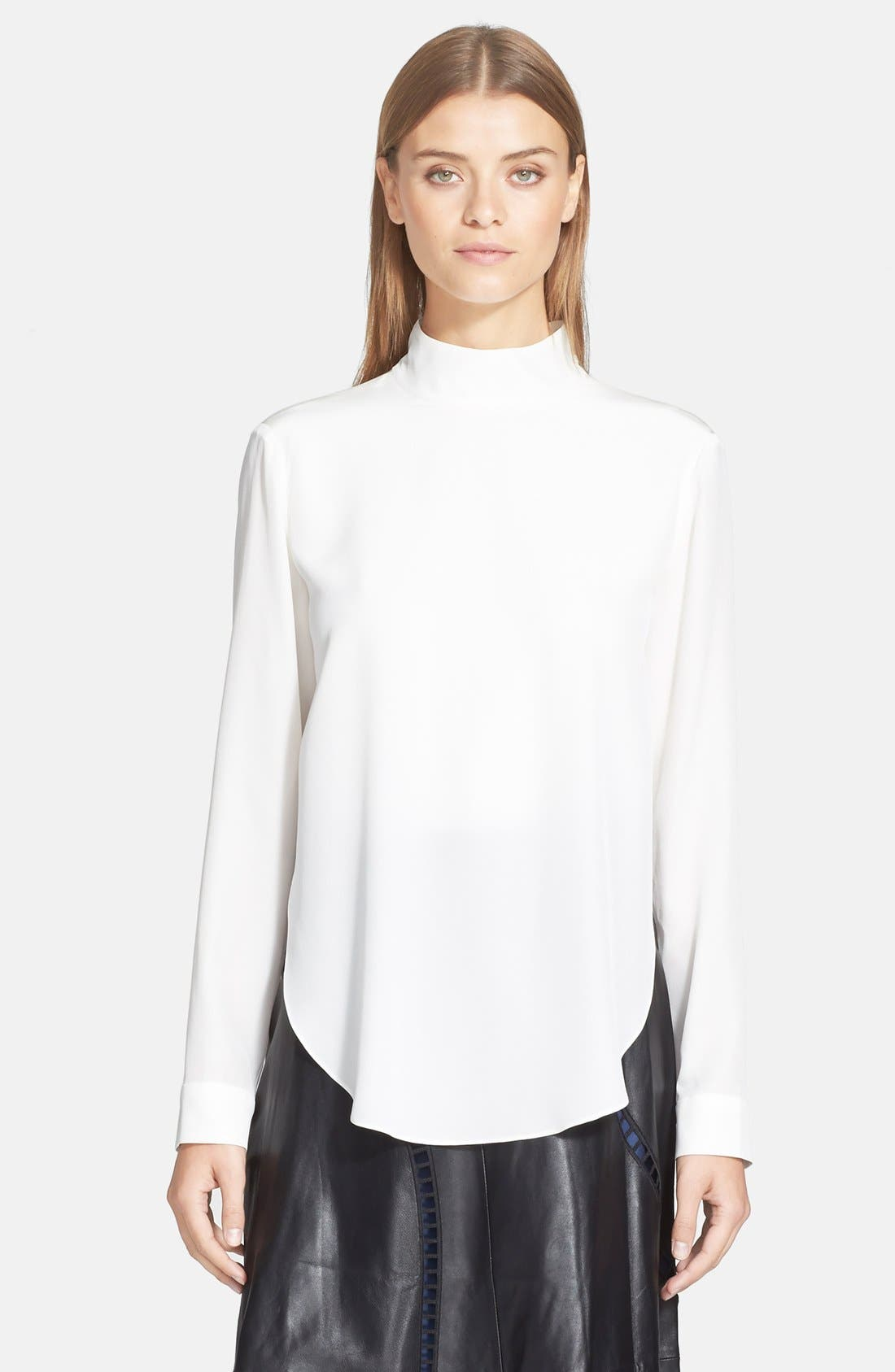 Alternate Image 1 Selected - Tibi Double Layer Mock Neck Silk Top
