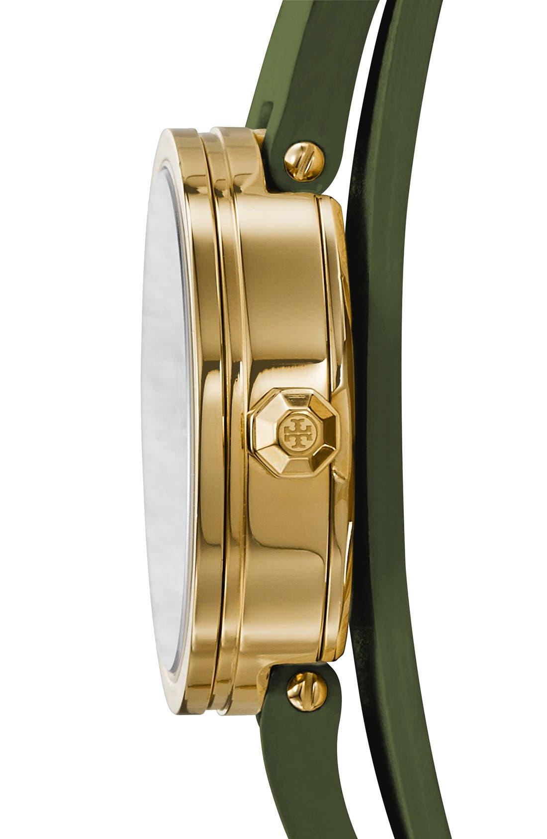 Alternate Image 2  - Tory Burch 'Reva' Logo Dial Double Wrap Leather Strap Watch, 28mm