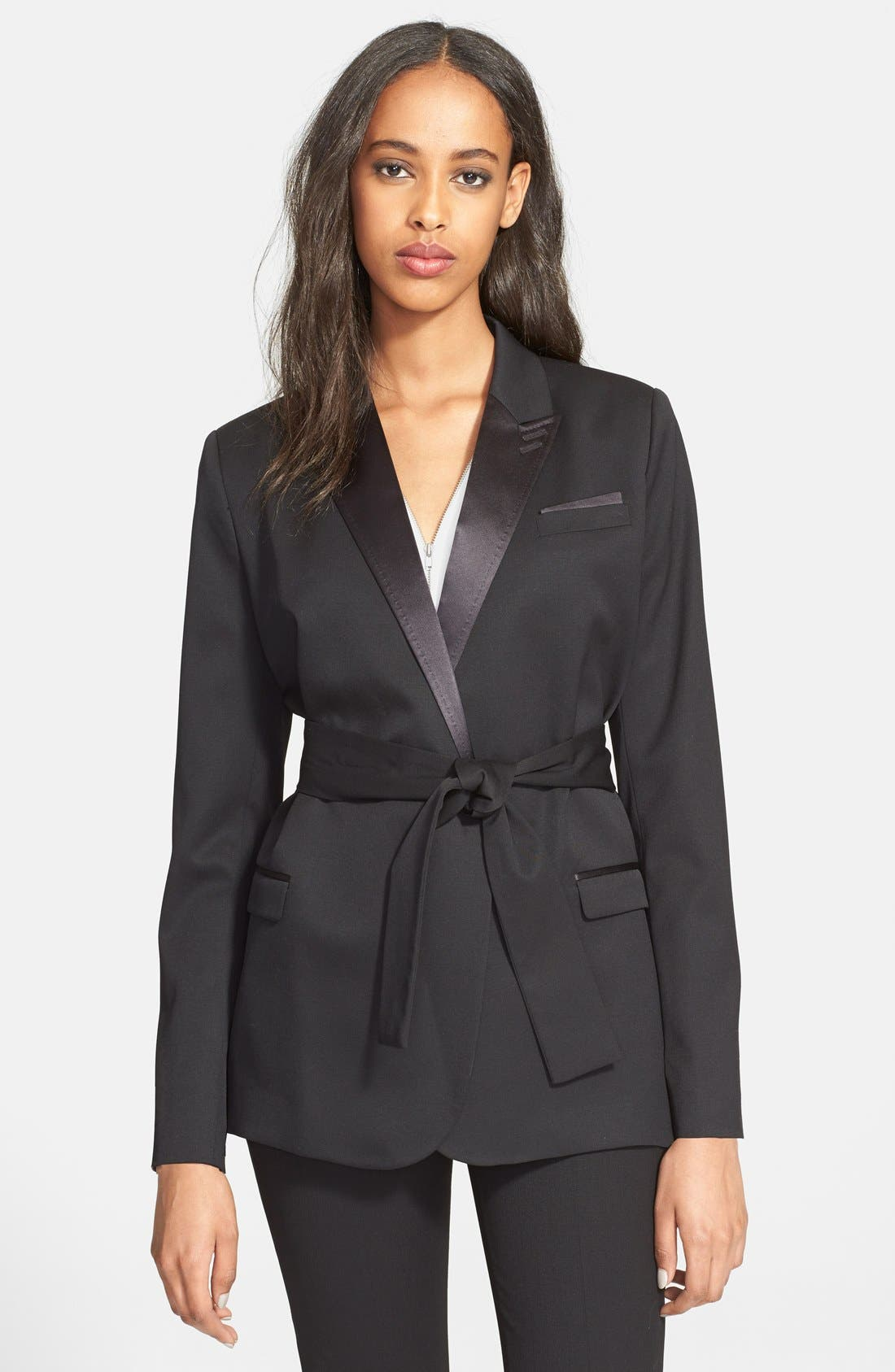 Main Image - The Kooples Satin Lapel Belted Jacket
