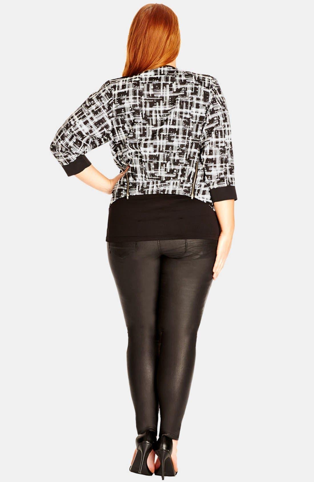 Alternate Image 2  - City Chic 'Mono Scratch' Print Drape Jacket (Plus Size)