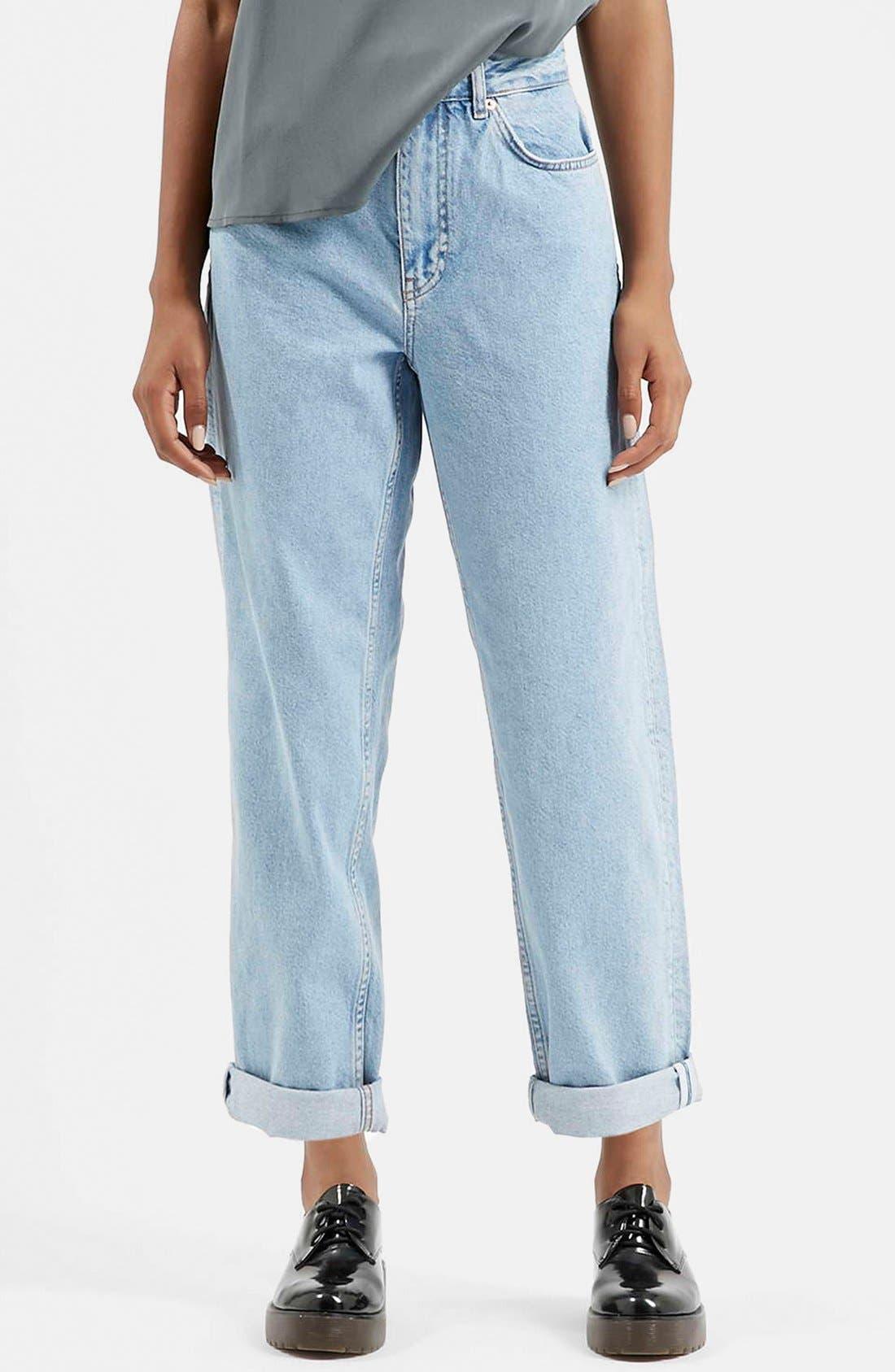 Main Image - Topshop Boutique Vintage Boyfriend Jeans (Blue)