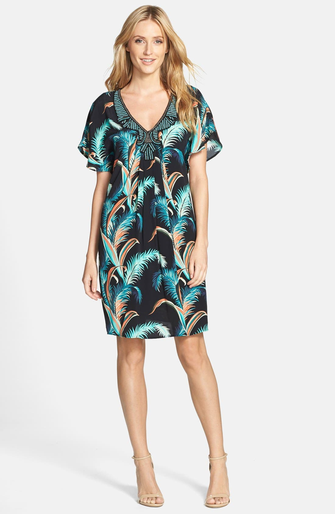 Alternate Image 3  - Adrianna Papell Palm Print Crepe Shift Dress