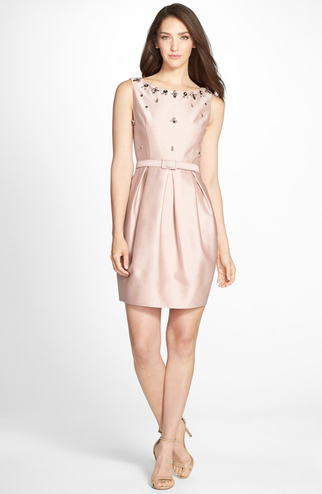 Alternate Image 3  - Eliza J Embellished Jacquard Tulip Dress (Regular & Petite)