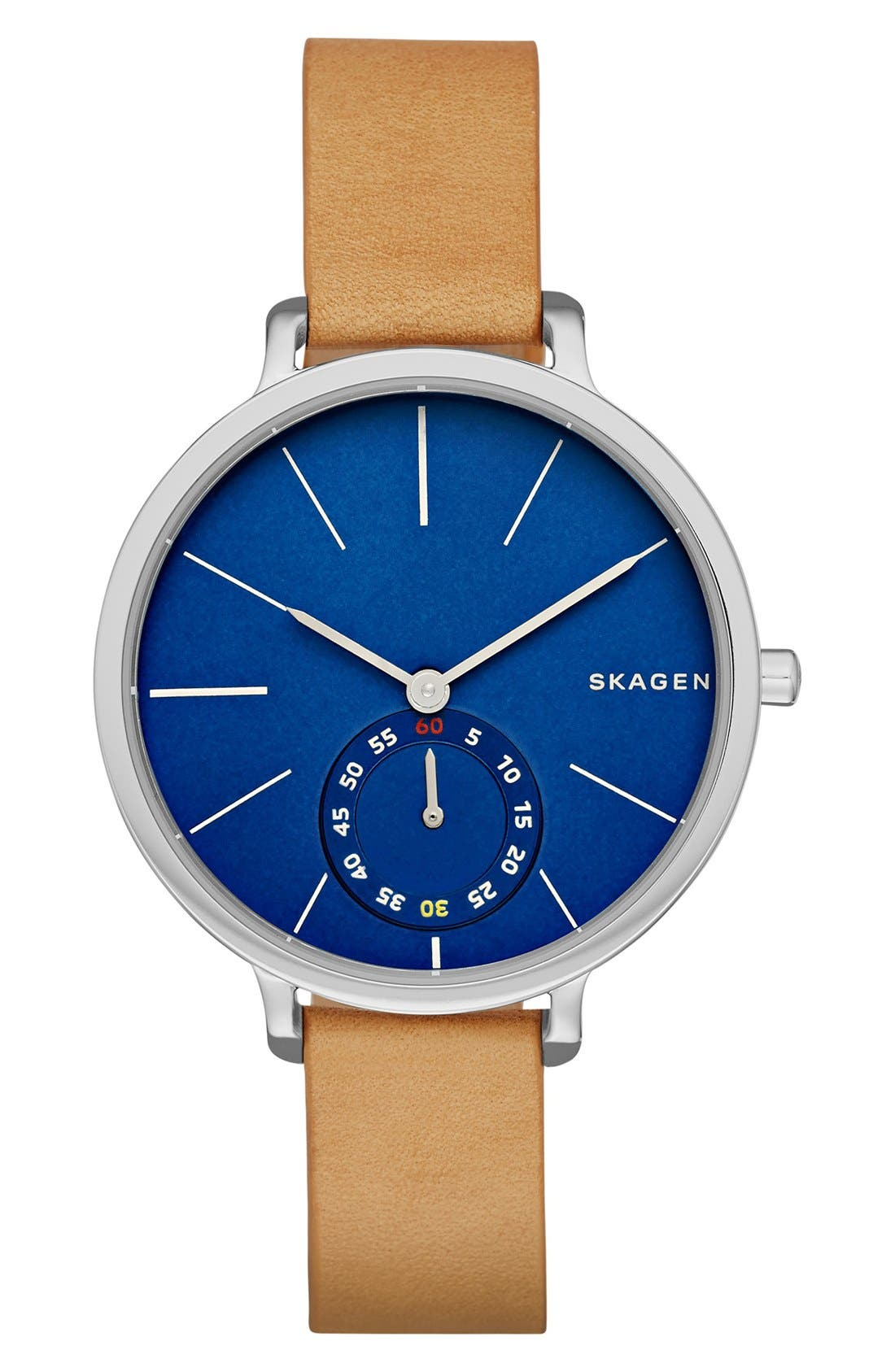Alternate Image 1 Selected - Skagen 'Hagen' Leather Strap Watch, 34mm