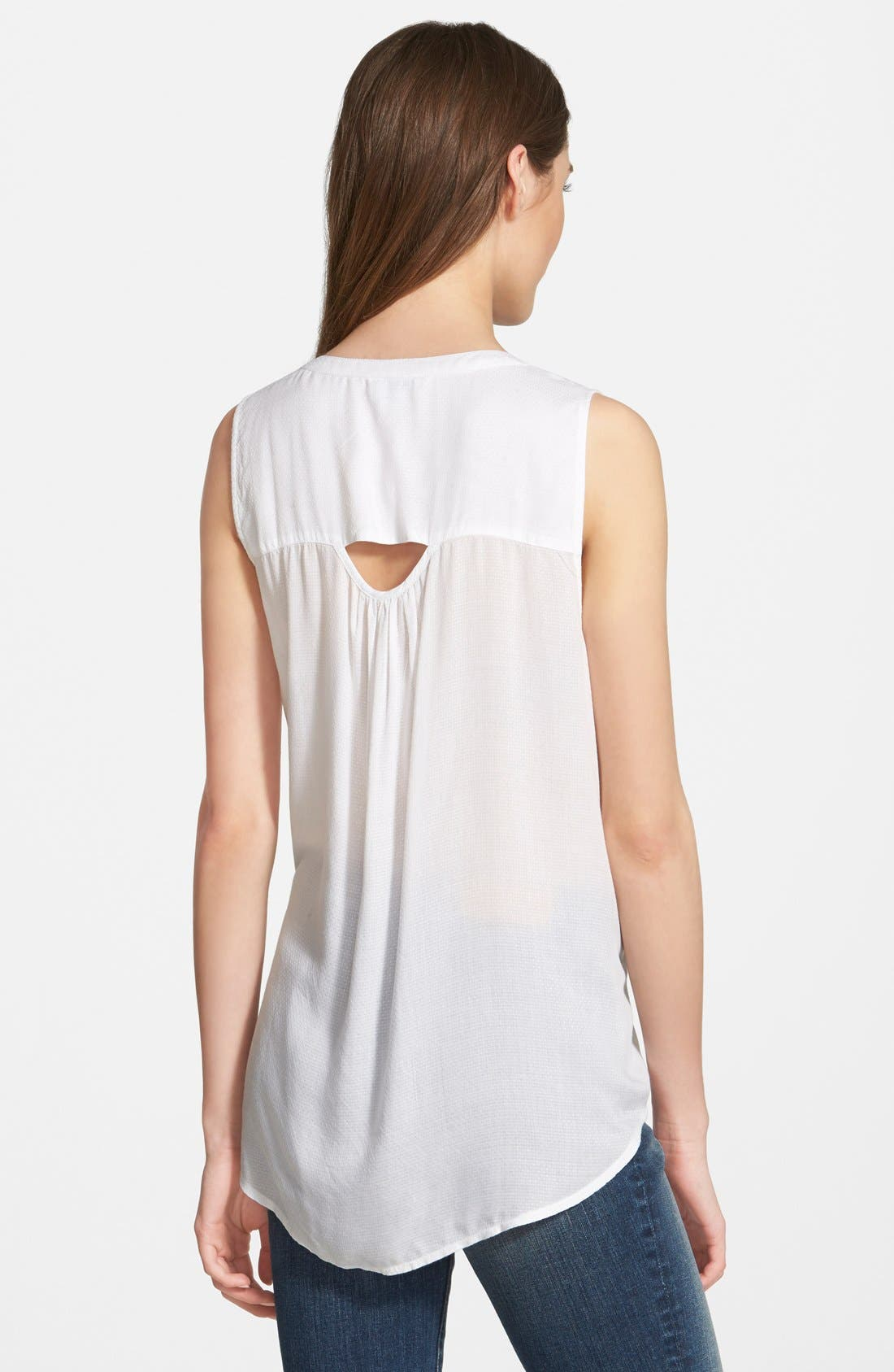 Alternate Image 2  - Lucky Brand Woven Tank with Back Cutout