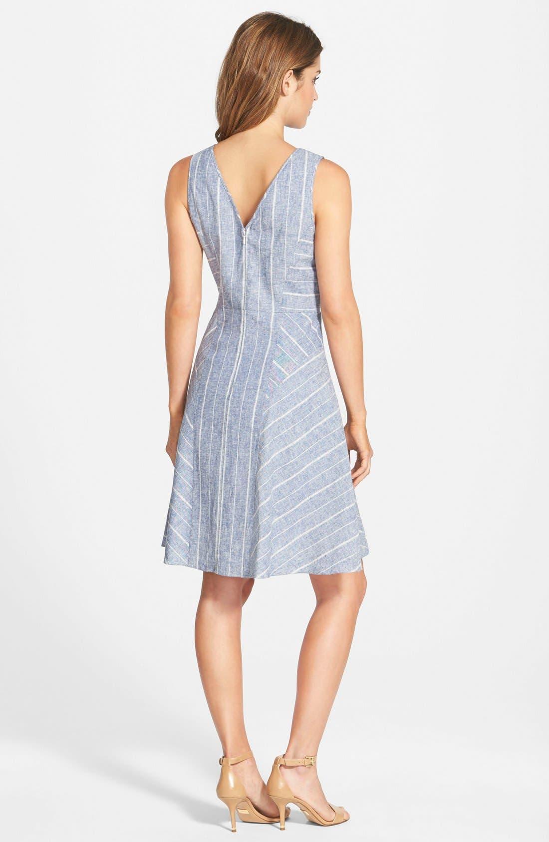 Alternate Image 2  - Adrianna Papell Stripe Double V-Neckline Linen Blend Fit & Flare Dress