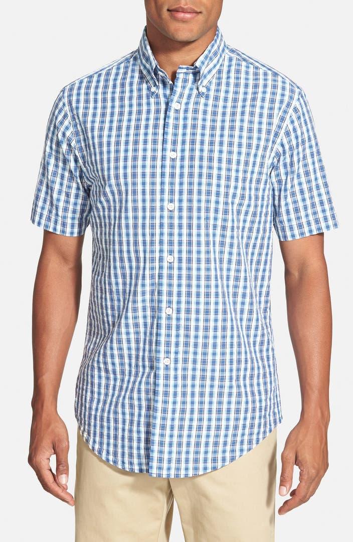 Brooks brothers madison fit short sleeve seersucker plaid for Brooks brothers sports shirts