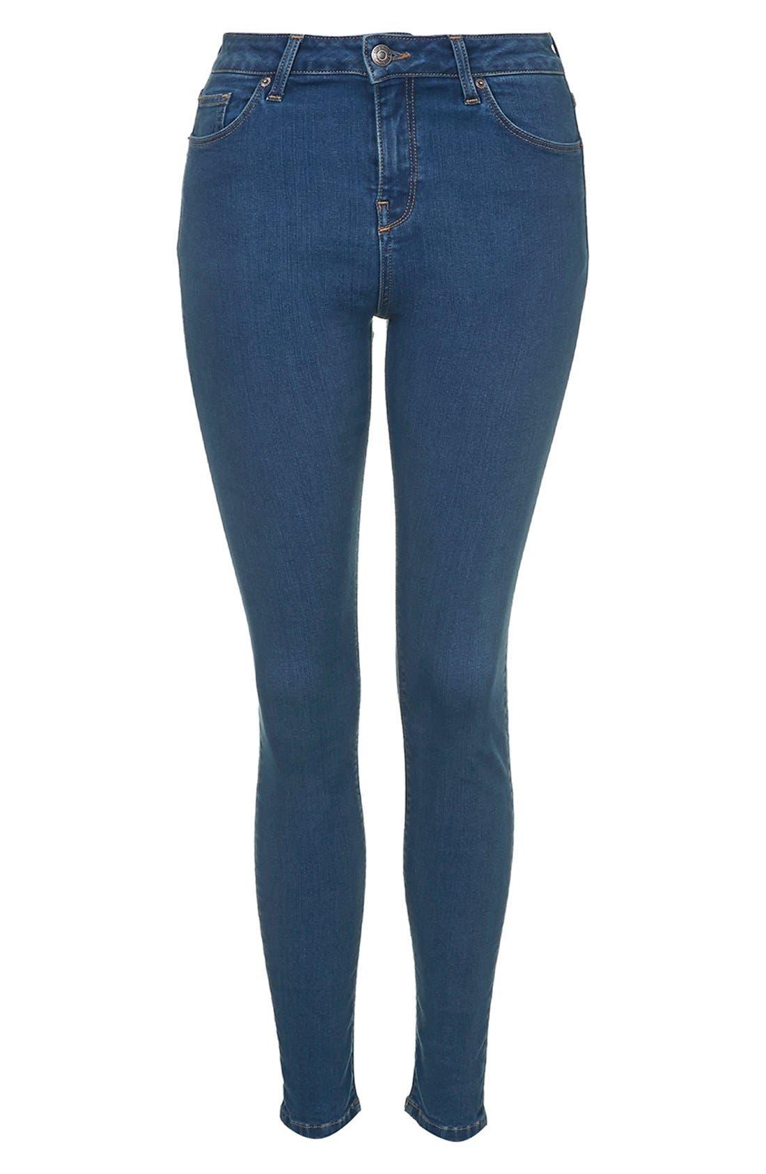 Alternate Image 4  - Topshop Moto 'Jamie' High Rise Skinny Jeans (Blue)