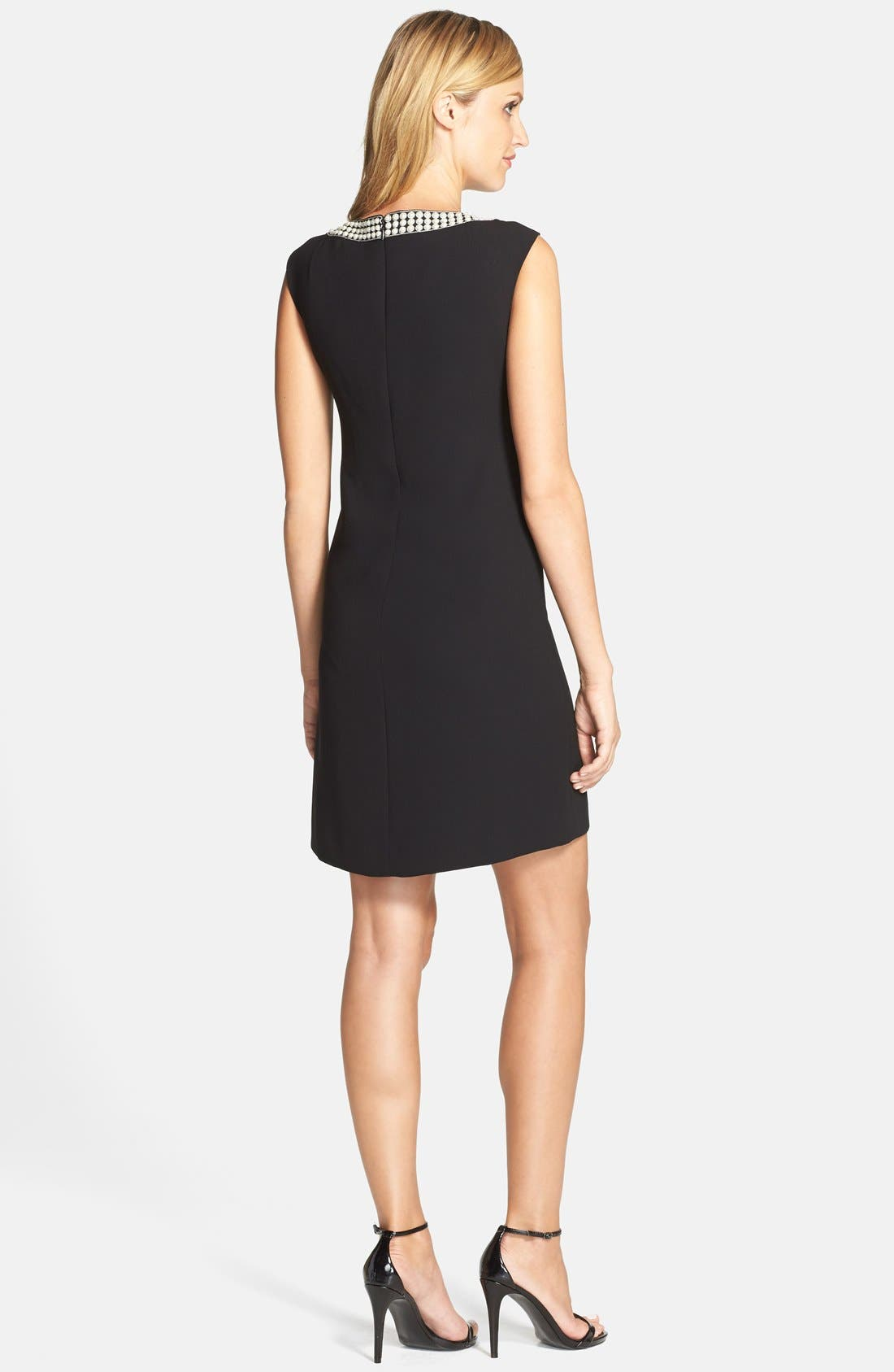 Alternate Image 2  - Tahari Embellished Neck Crepe Shift Dress (Regular & Petite)