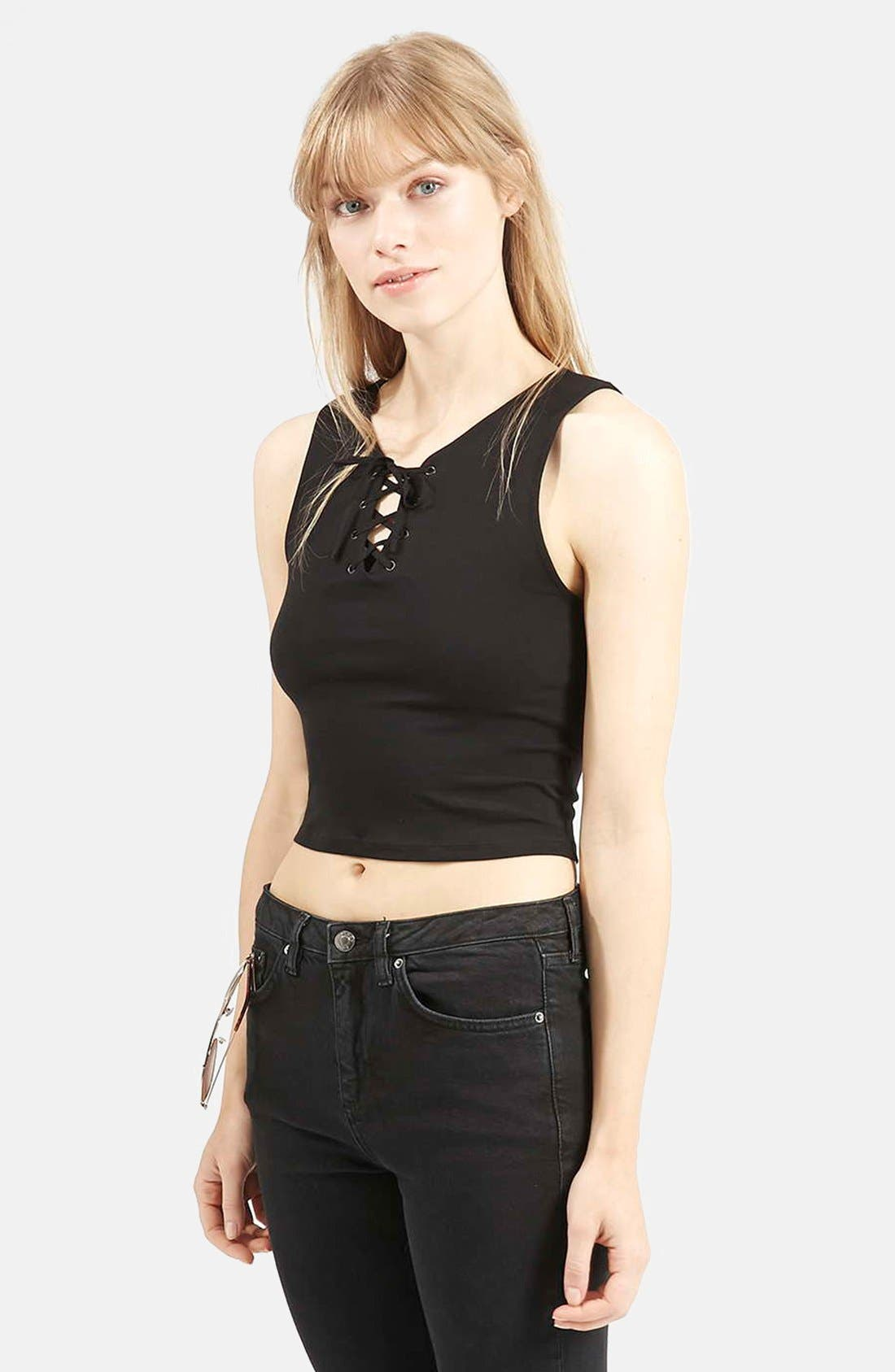 Alternate Image 1 Selected - Topshop Lace-Up Crop Top
