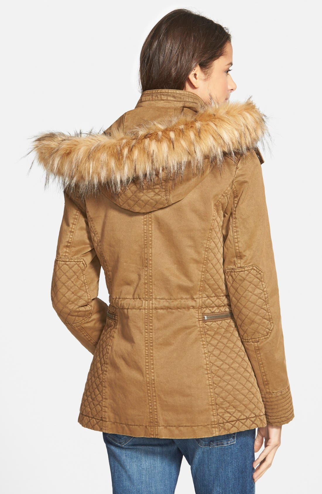 Alternate Image 2  - GUESS Hooded Cotton Field Jacket with Faux Fur Trim