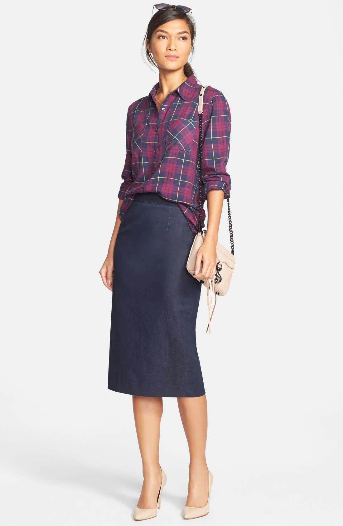 Alternate Image 2  - Halogen® Denim Midi Pencil Skirt