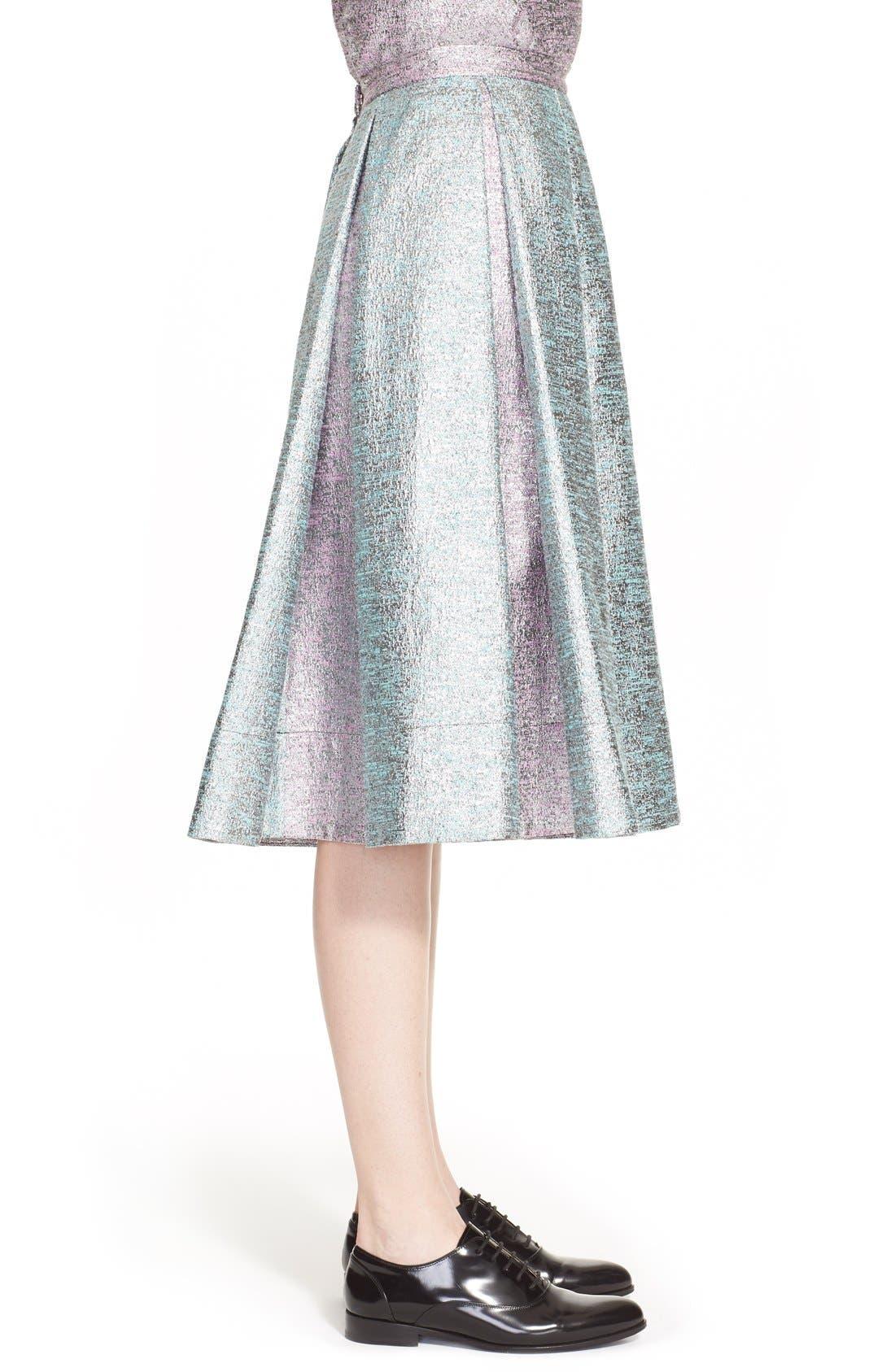 Alternate Image 5  - PASKAL Metallic Inverted Pleat Flared Skirt