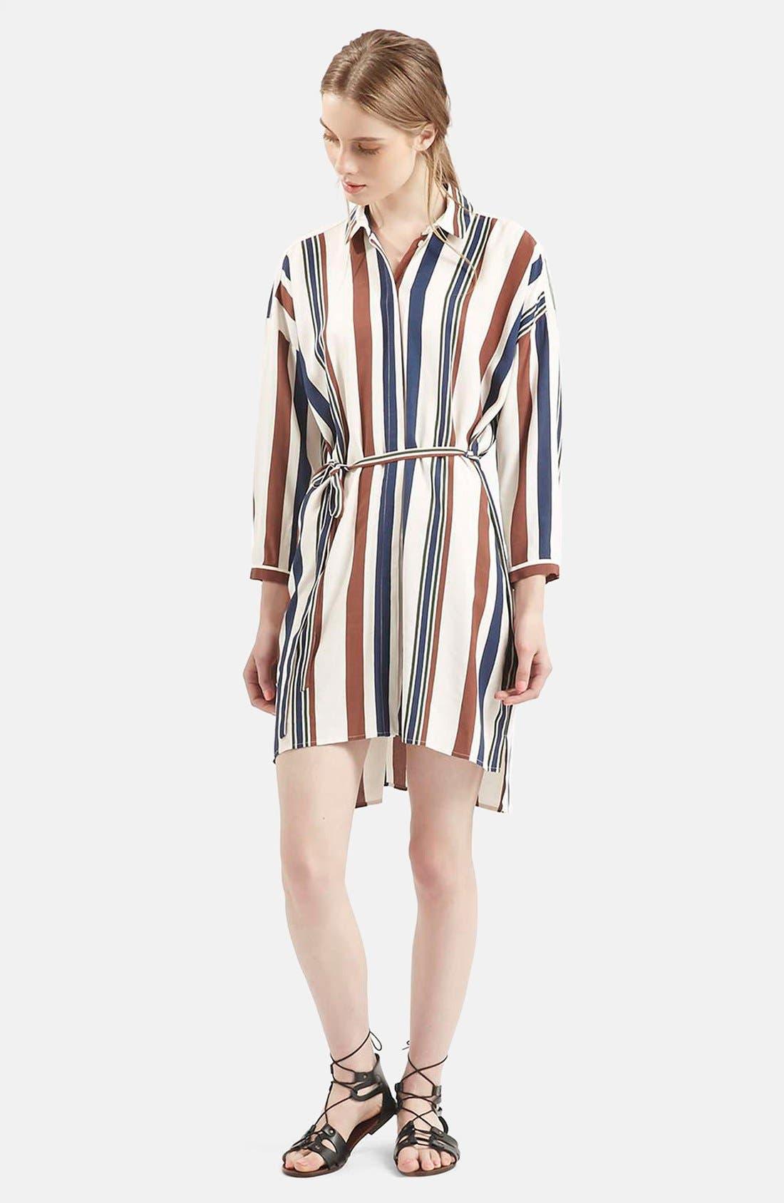 Alternate Image 1 Selected - Topshop Stripe Belted Shirtdress