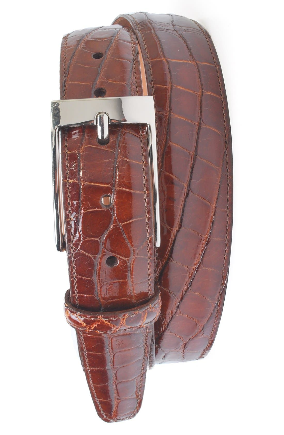 MARTIN DINGMAN 'Joseph' Genuine American Alligator Leather Belt