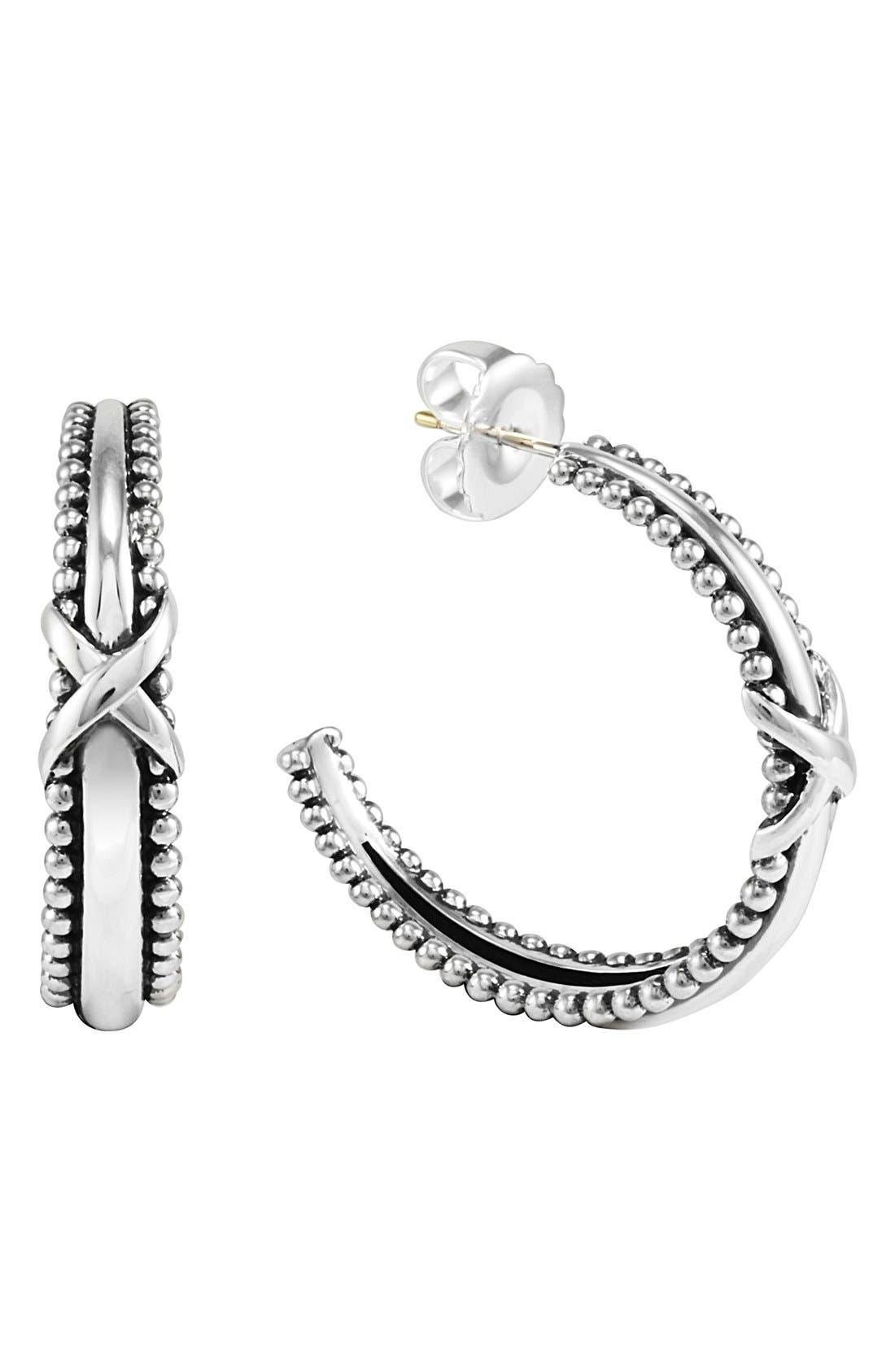 Alternate Image 1 Selected - LAGOS 'X' Caviar Tapered Hoop Earrings