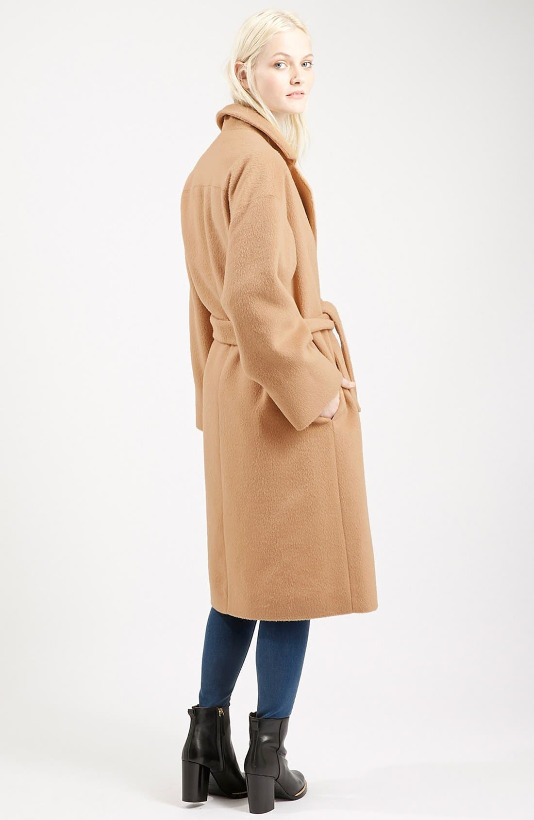 Alternate Image 2  - Topshop Long Belted Coat