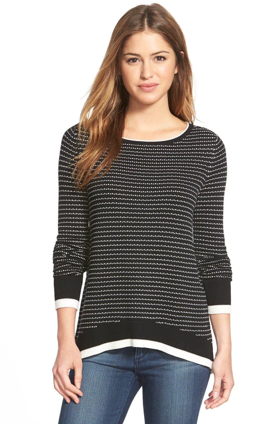 Alternate Image 1 Selected - CaslonStripe BorderSnap Back Sweater (Regular & Petite)