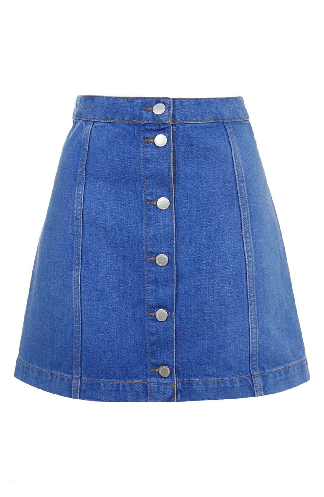 Alternate Image 4  - Topshop Moto Button Front A-Line Skirt (Bright Blue)