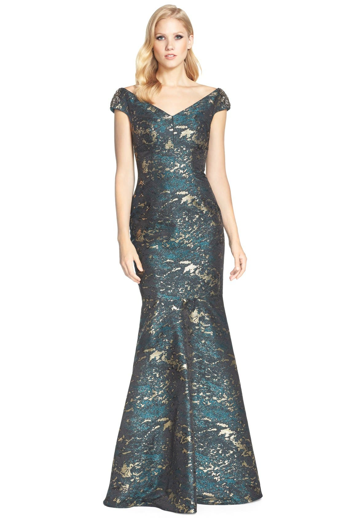 Alternate Image 1 Selected - David Meister Off the Shoulder Jacquard Mermaid Gown