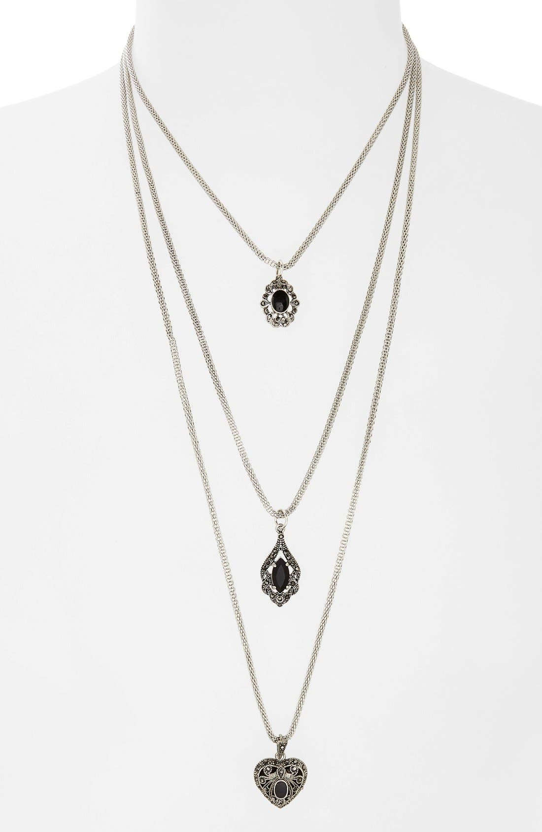 Alternate Image 1 Selected - Topshop Multi Row Antique Look Necklace