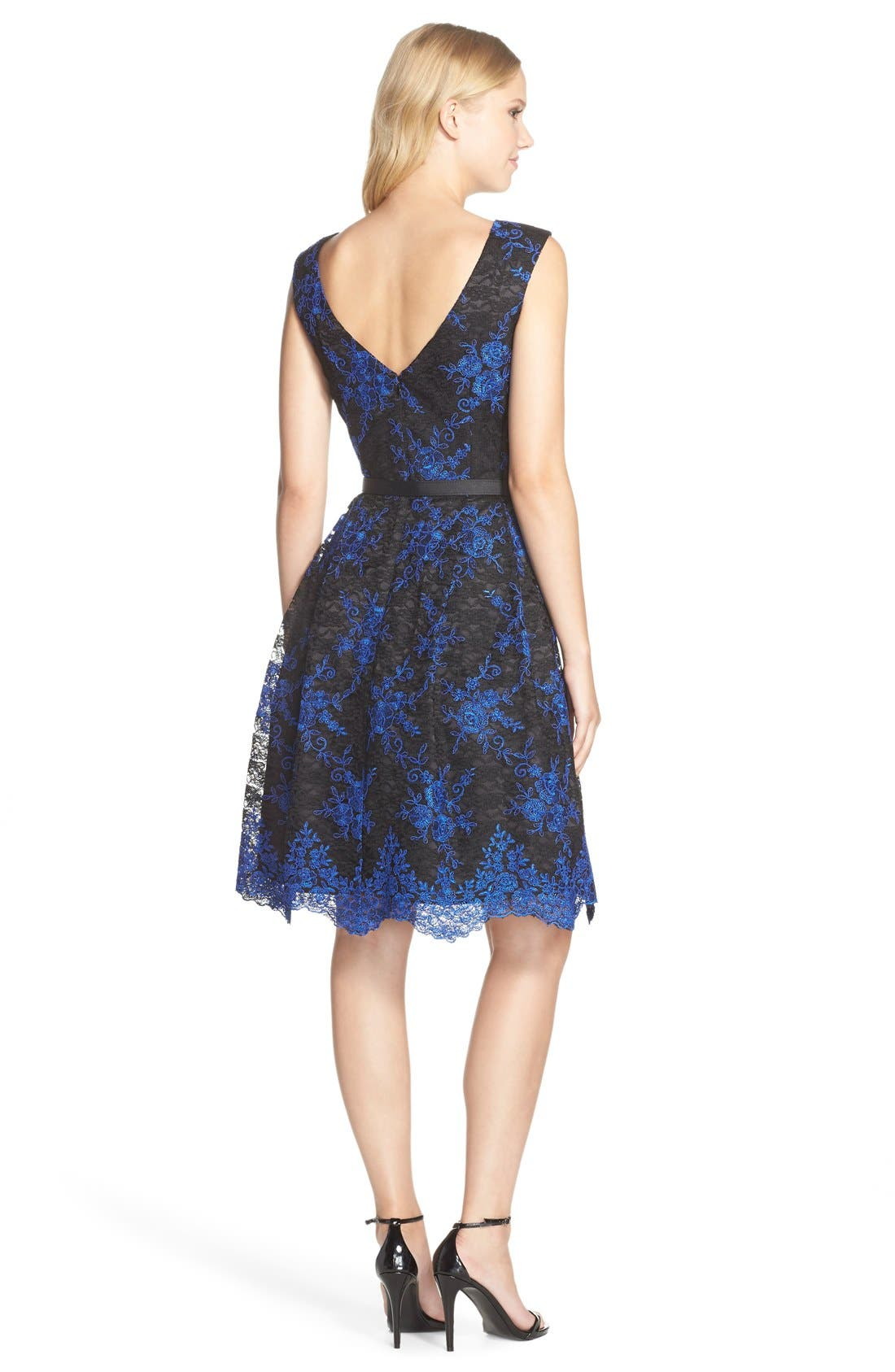 Alternate Image 2  - Eliza J Belted Embroidered Lace Fit & Flare Dress (Regular & Petite)