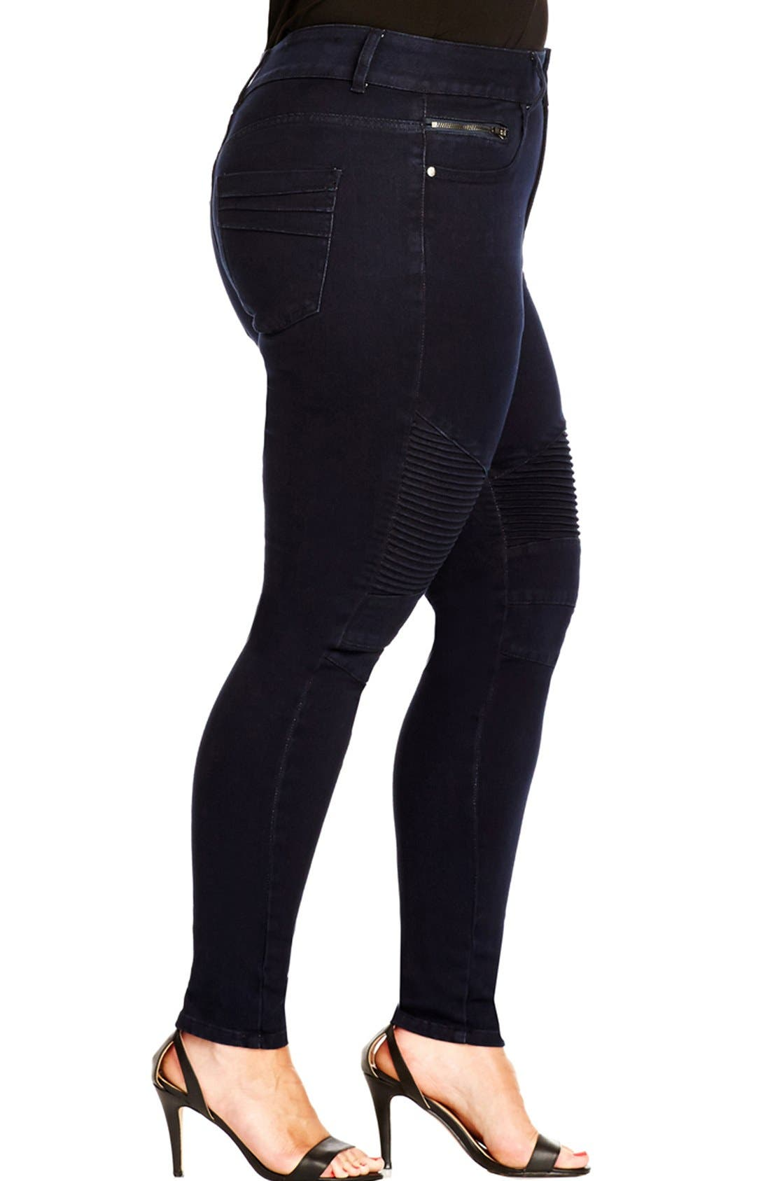 Alternate Image 3  - City Chic 'Moto' Stretch Skinny Jeans (Dark Denim) (Plus Size)