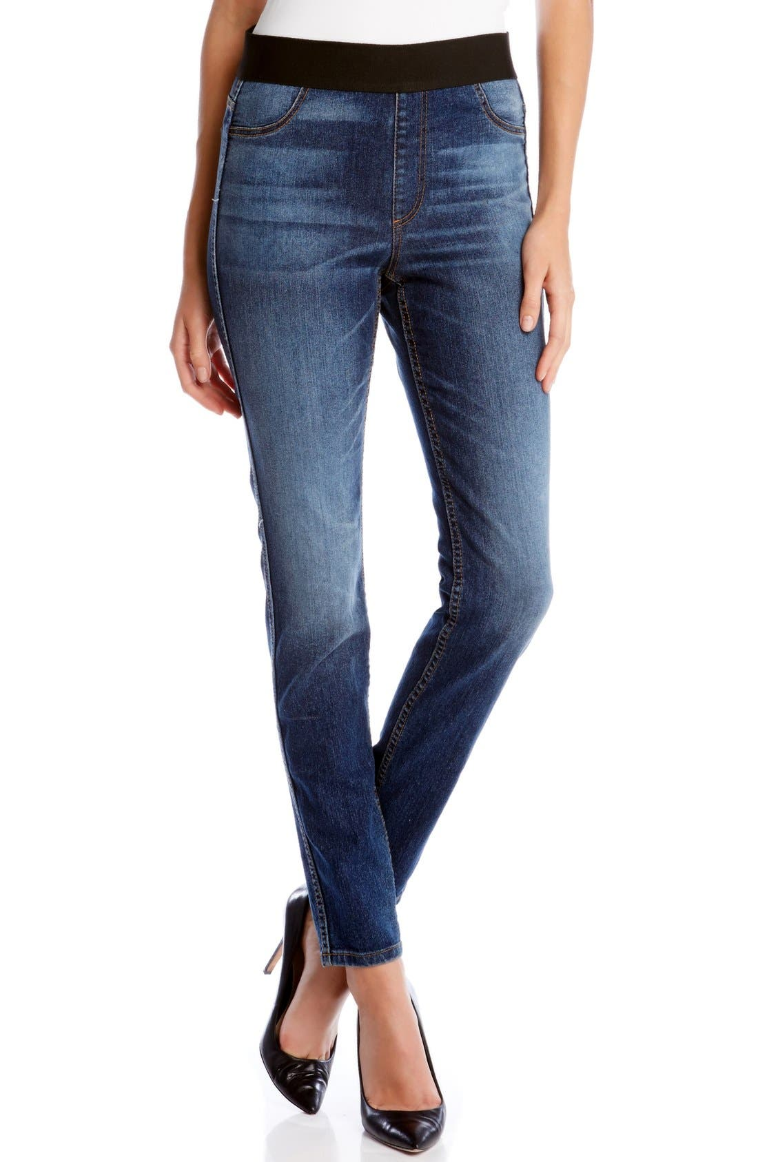 Karen Kane Vintage Wash Stretch Denim Leggings (Blue)