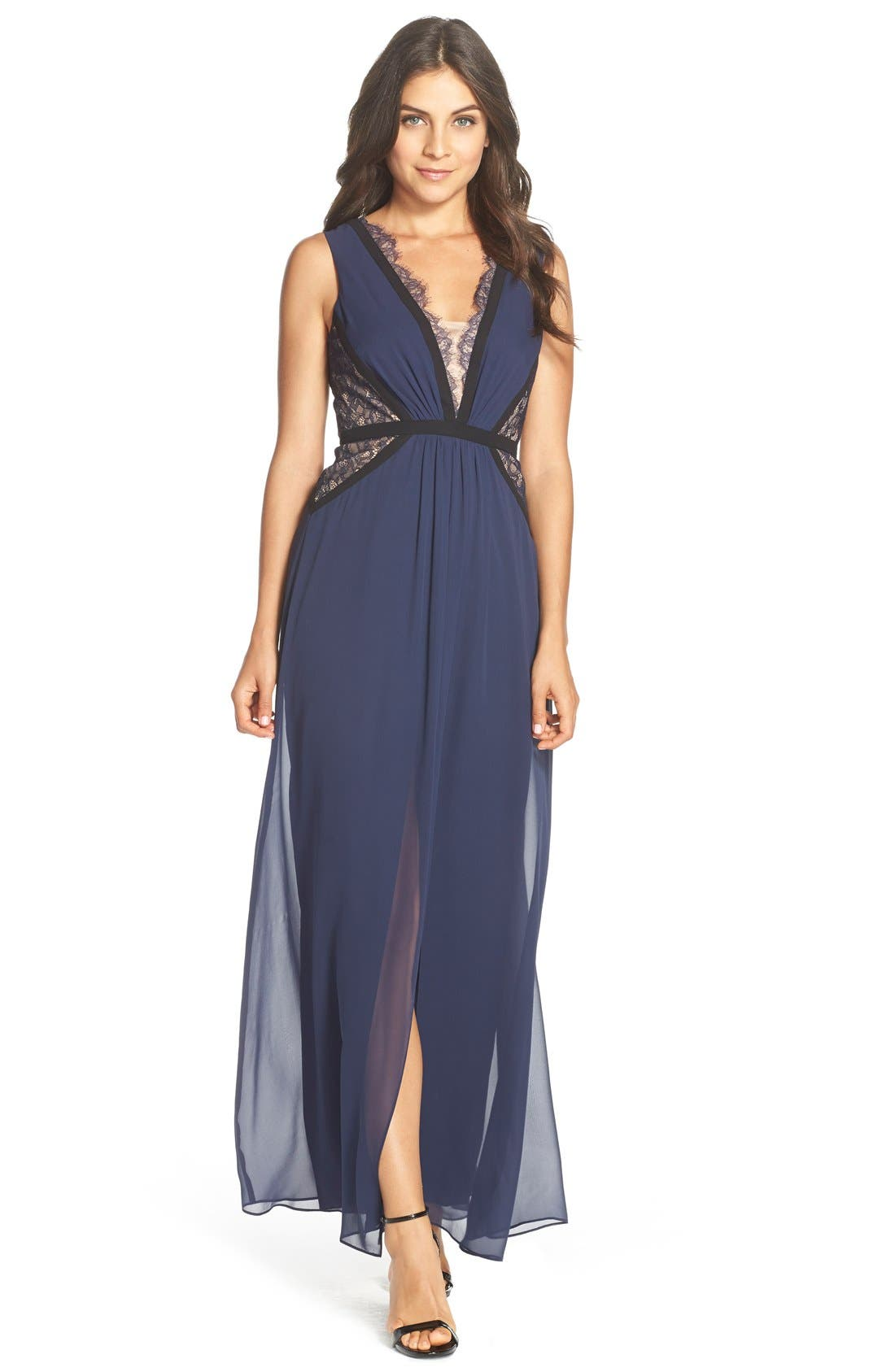 Alternate Image 1 Selected - BCBGMAXAZRIA Lace Inset Silk Chiffon Gown