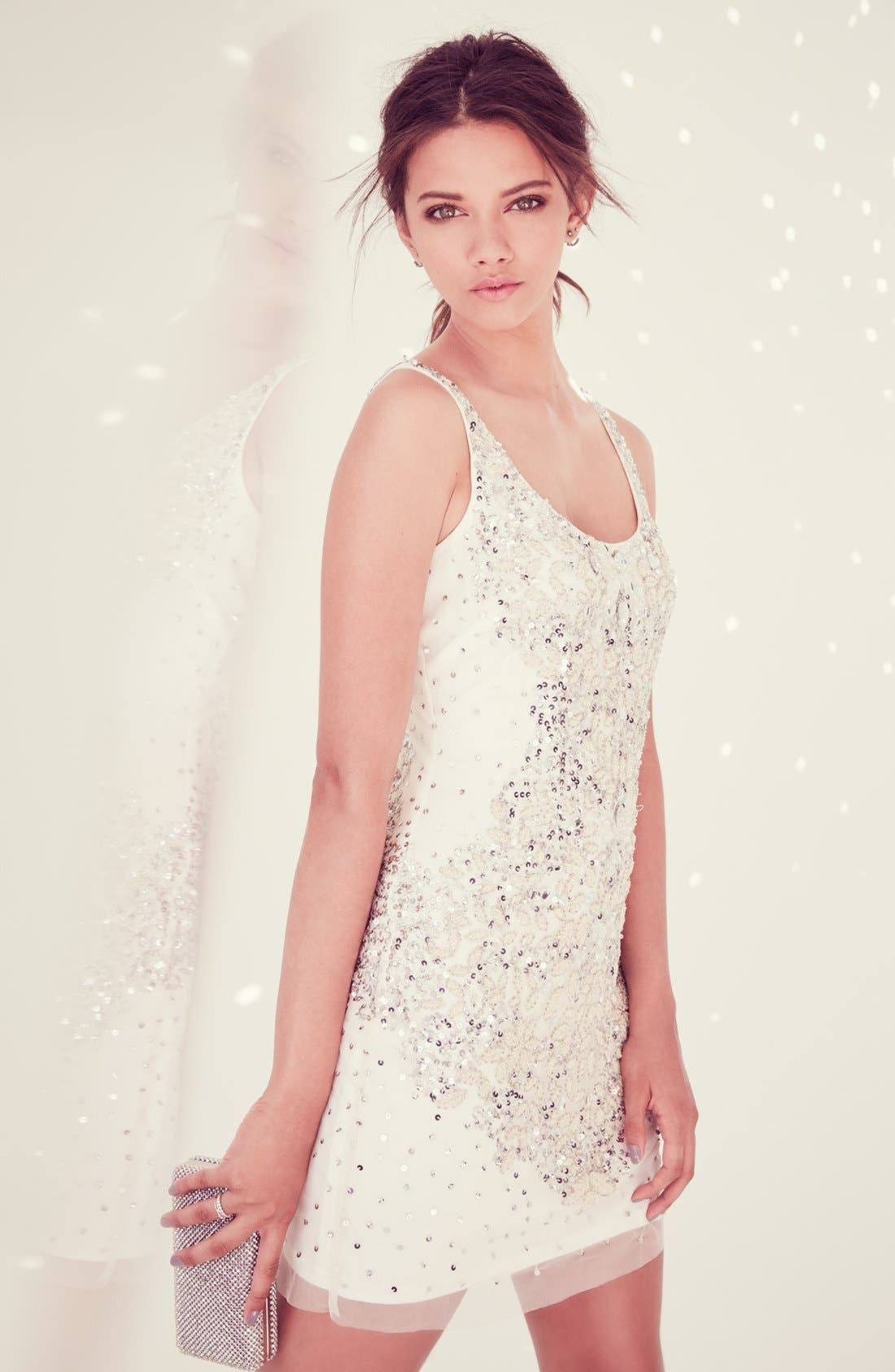 Alternate Image 2  - Adrianna Papell Embellished Mesh Tank Dress
