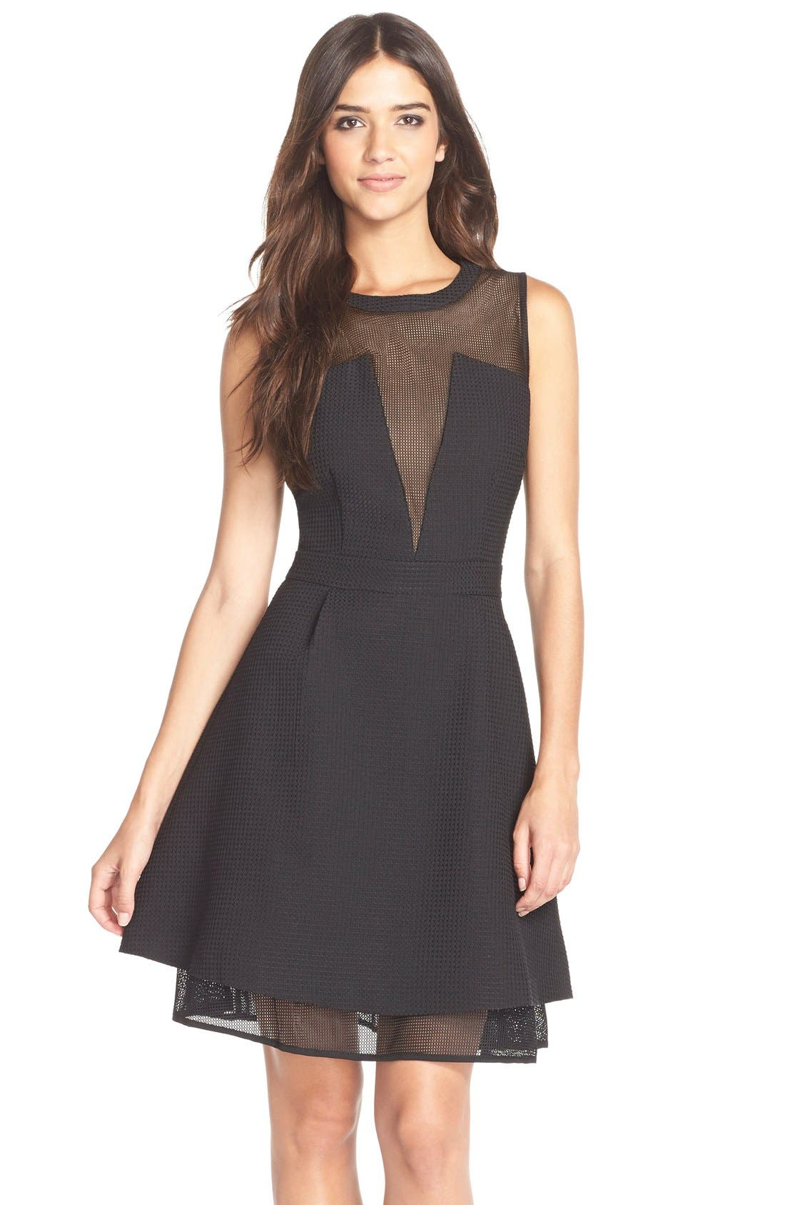 Alternate Image 1 Selected - Elliatt'Attractions' Tiered Mesh Fit & Flare Dress
