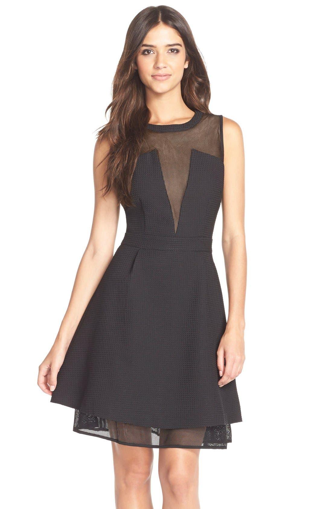 Main Image - Elliatt'Attractions' Tiered Mesh Fit & Flare Dress