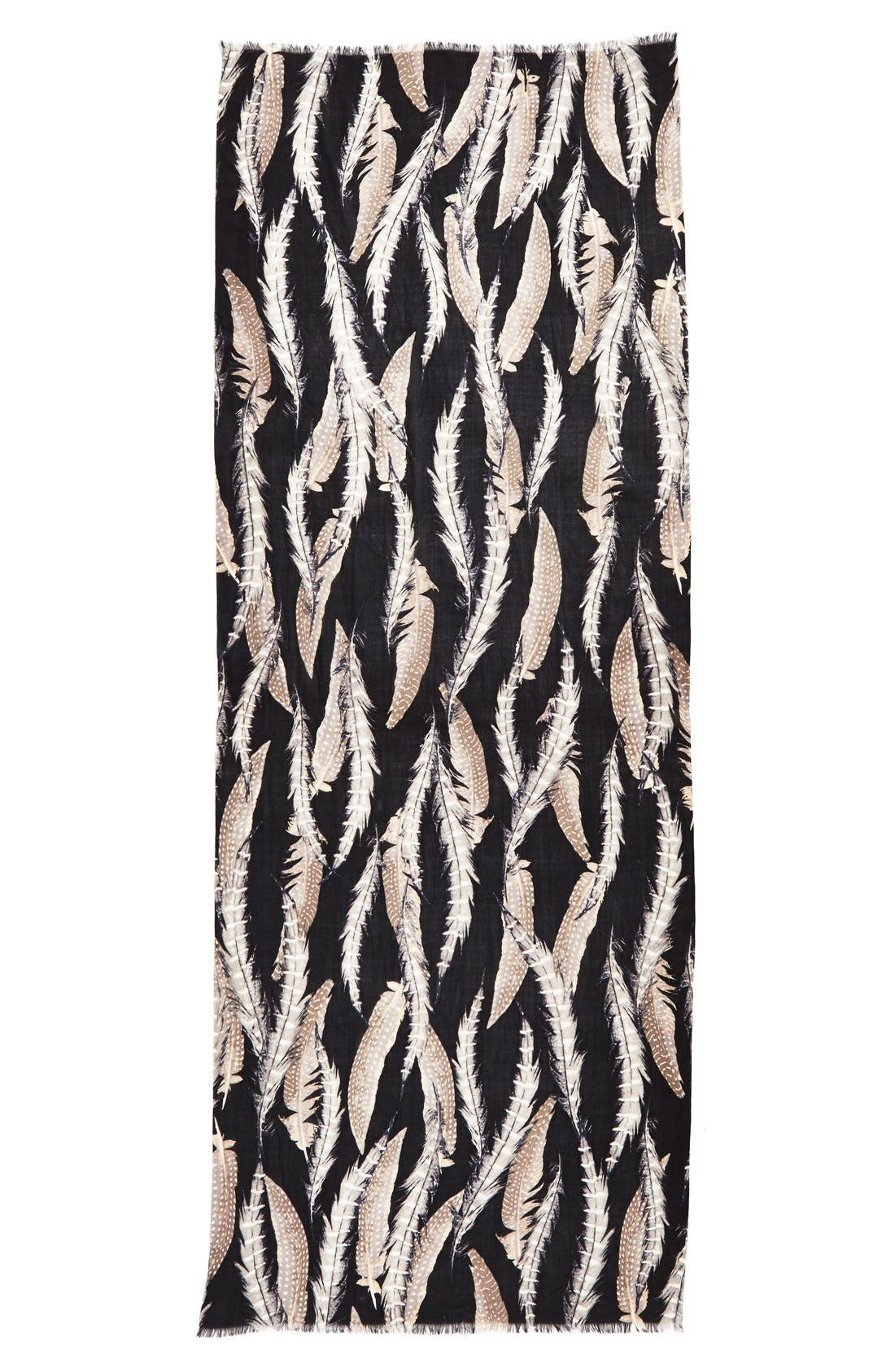 Alternate Image 2  - Nordstrom 'Quill Challis' Feather Print Wool Scarf