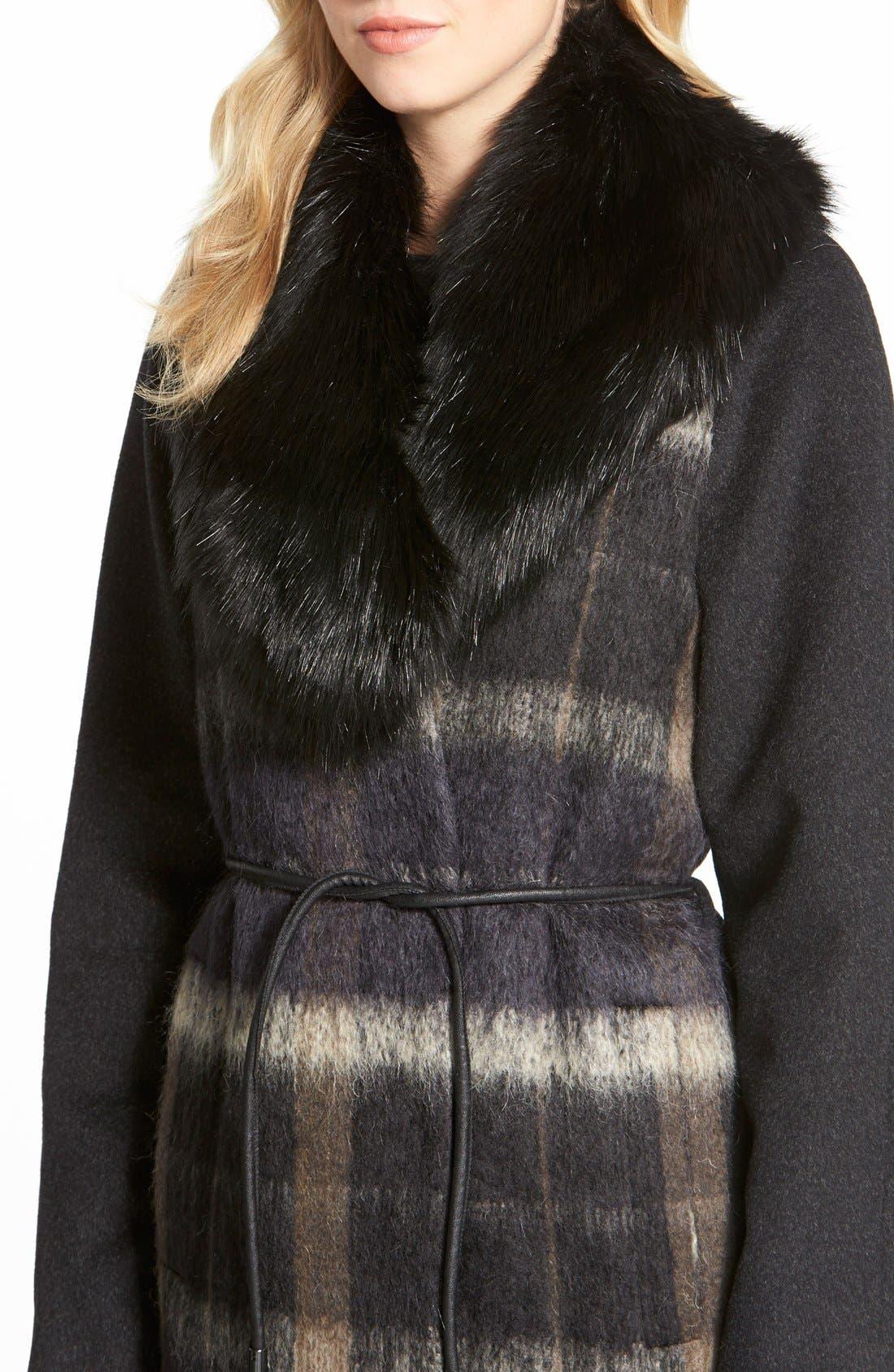 Alternate Image 3  - Vera Wang 'Sophie' Faux Fur Collar Mixed Media Coat