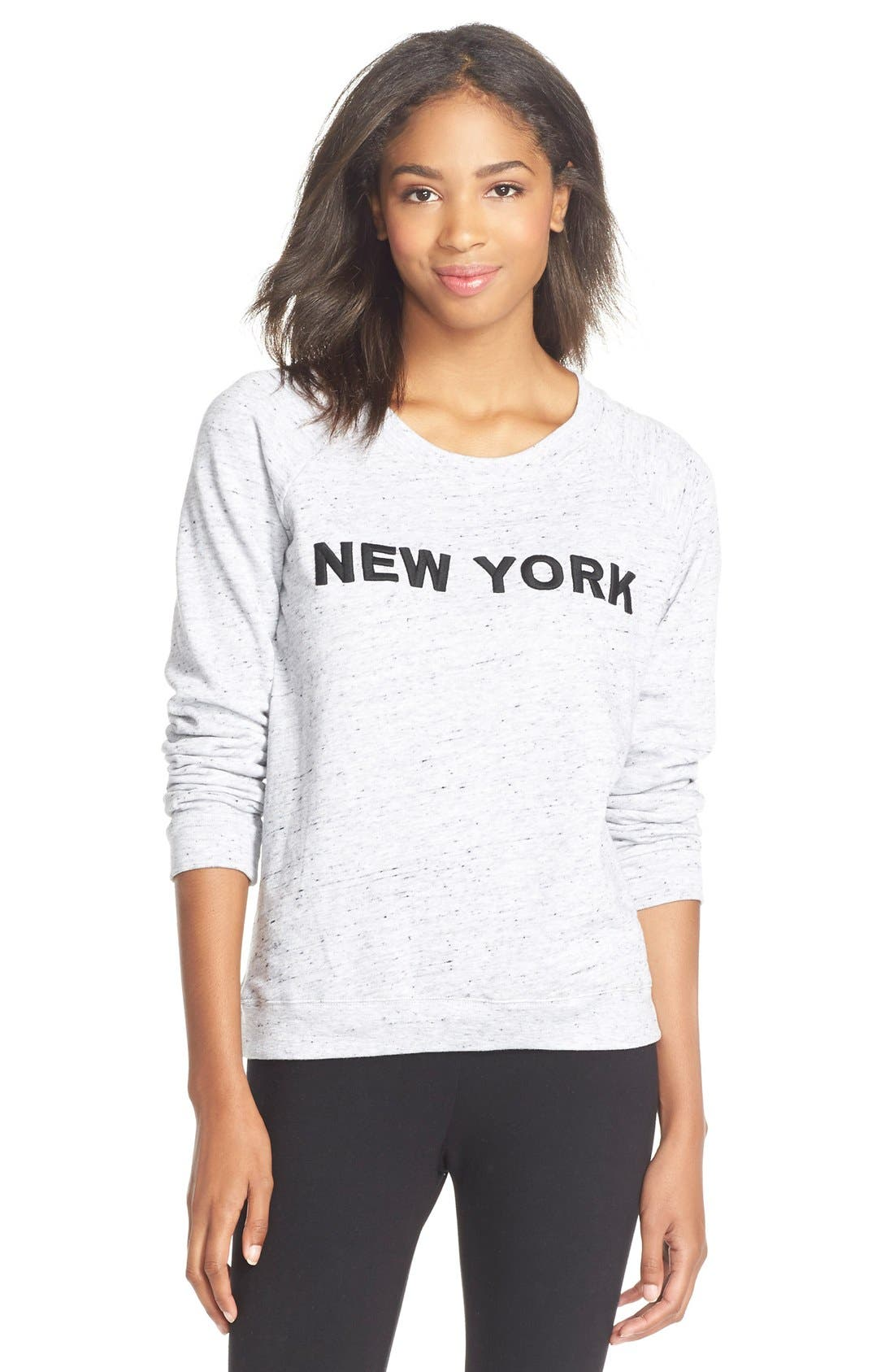 Main Image - Monrow'City' Embroidered Pullover Sweatshirt