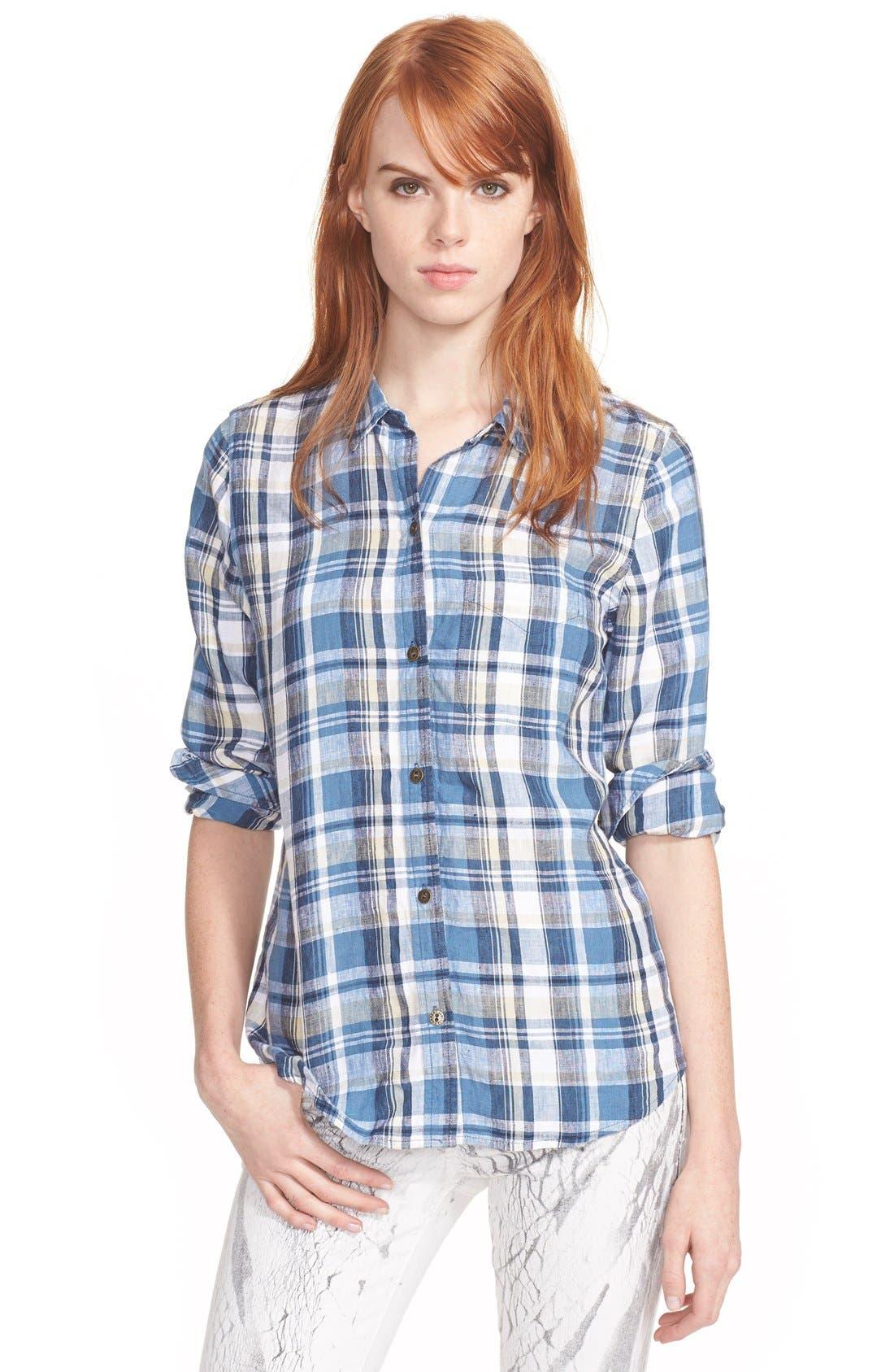 Main Image - Current/Elliott 'The Slim Boy' Plaid Linen Shirt