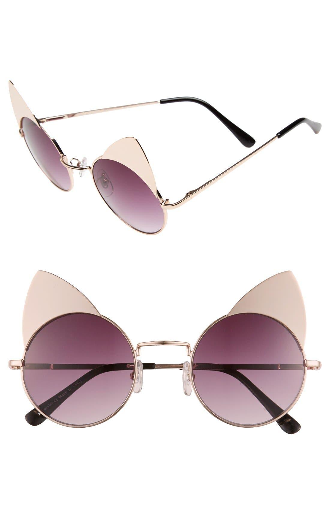 Alternate Image 1 Selected - Sunscape 'Meowcifer' 50mm Metal Sunglasses