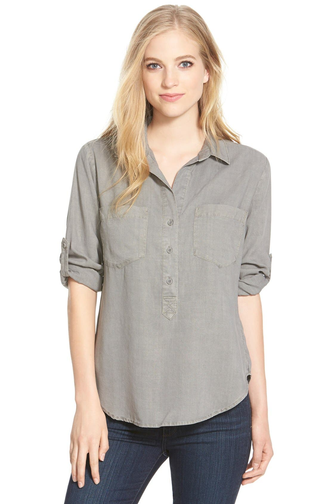 Main Image - Side Stitch Roll Tab Sleeve Tencel® Pullover Shirt