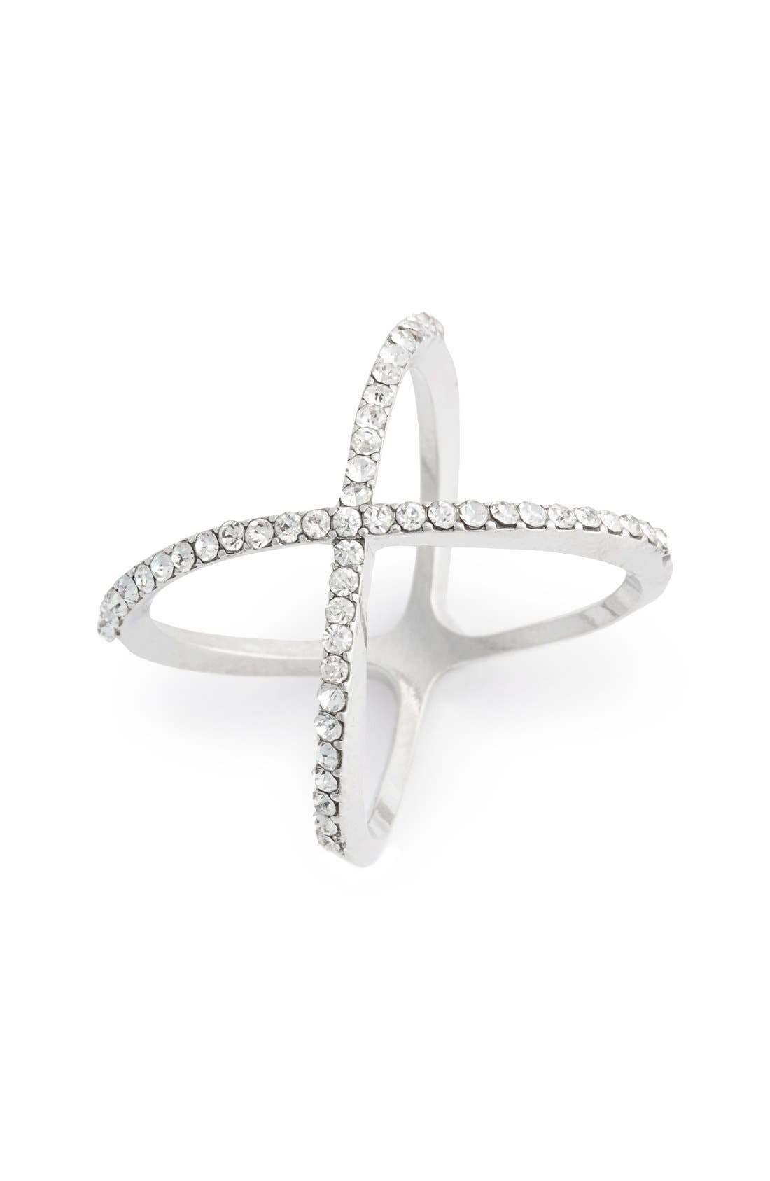 BP. Rhinestone Crossover Ring