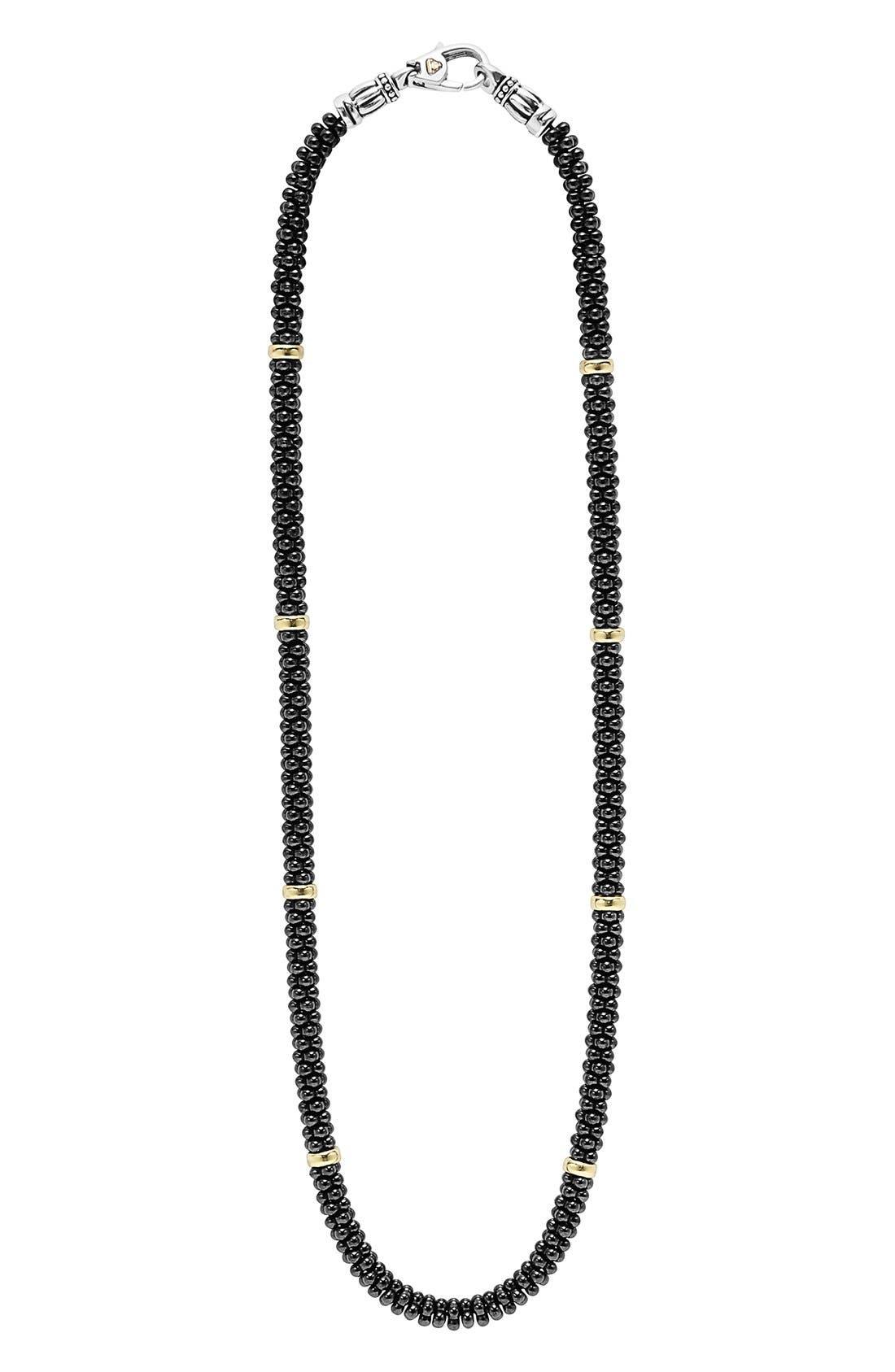 LAGOS 'Black Caviar' Station Rope Necklace