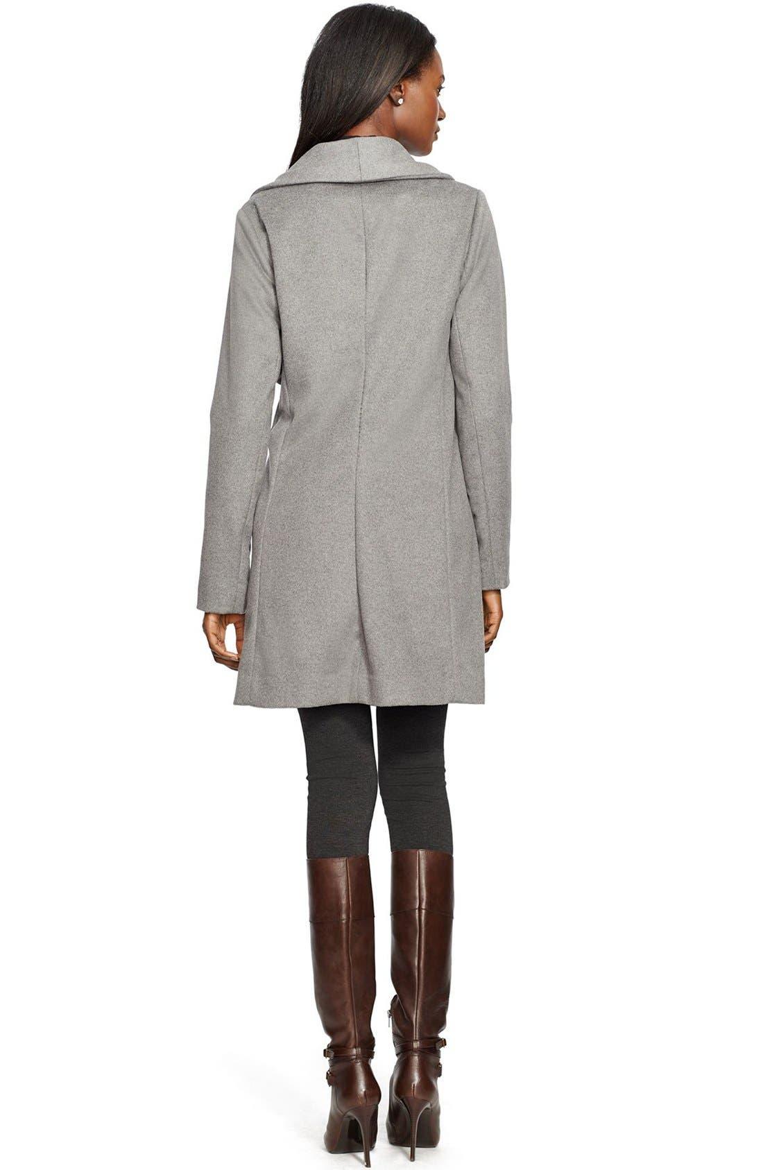 Alternate Image 2  - Lauren Ralph Lauren Fringe Trim LongDrape Front Coat