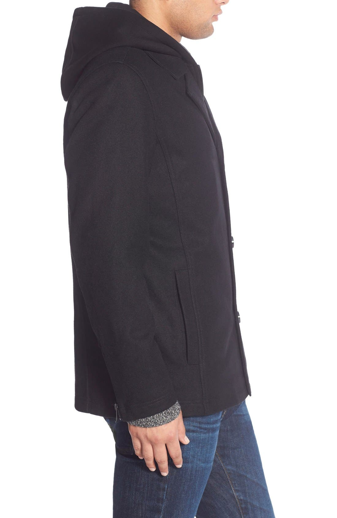 Alternate Image 3  - Black Rivet Single Breasted Hooded Coat