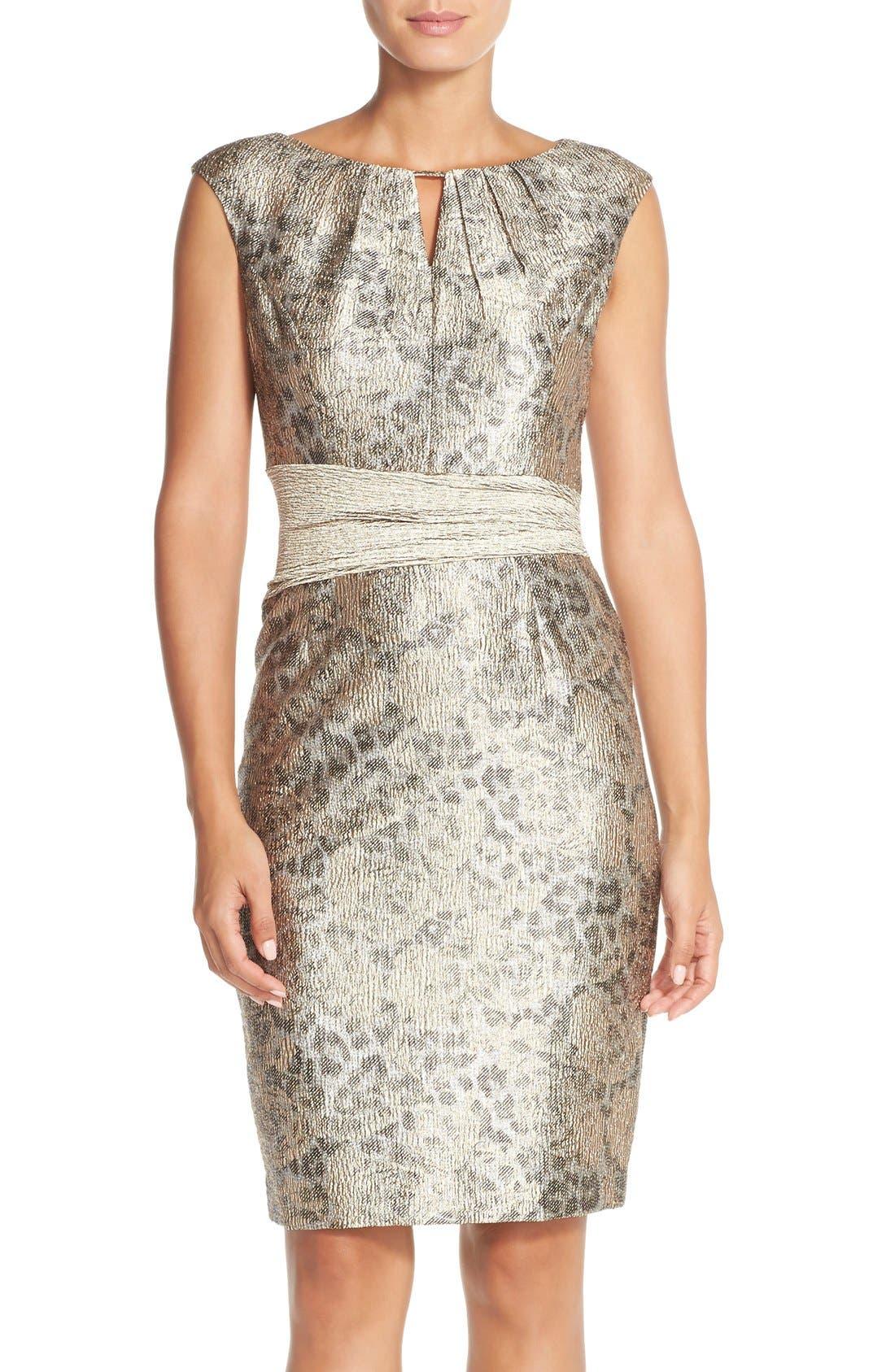 Main Image - Ellen Tracy Metallic Jacquard Sheath Dress (Regular & Petite)