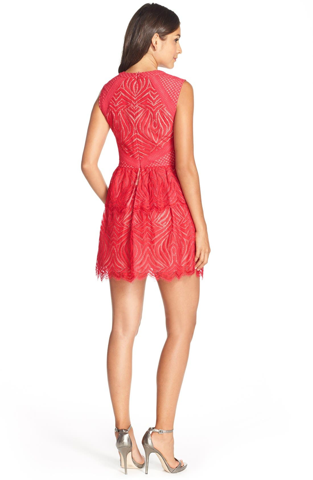 Alternate Image 2  - BCBGMAXAZRIA 'Micaila' Tiered Skirt Lace Fit & Flare Dress
