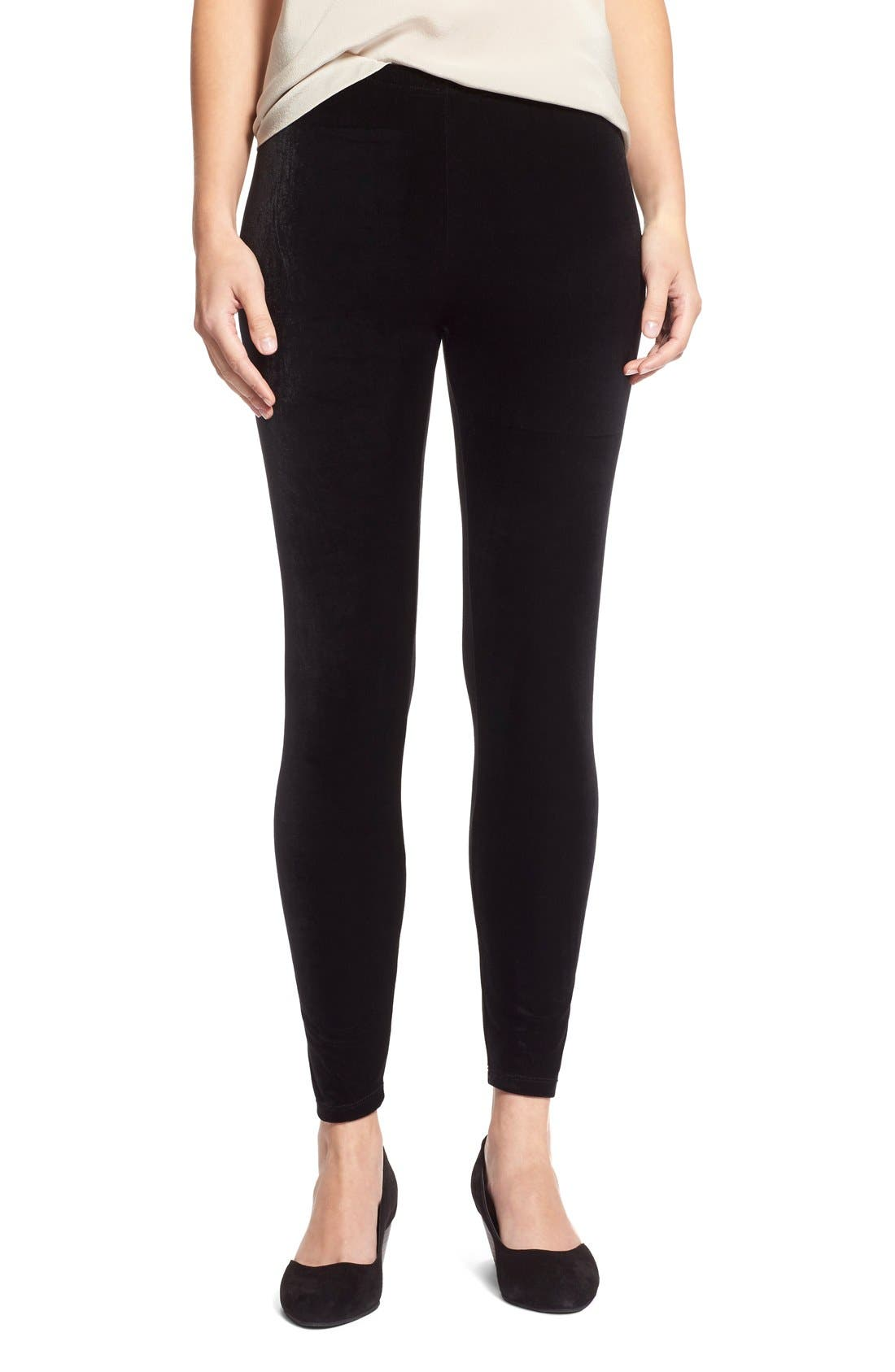 Alternate Image 1 Selected - Eileen Fisher Stretch Velvet Leggings (Regular & Petite)