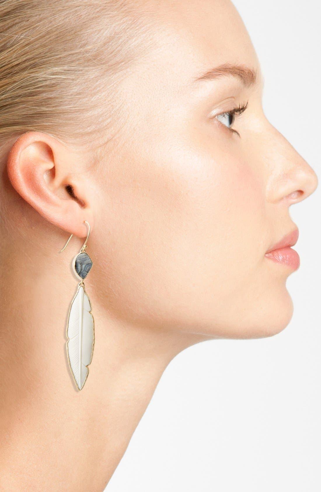 Alternate Image 2  - Heather Benjamin Carved Bone Feather Drop Earrings