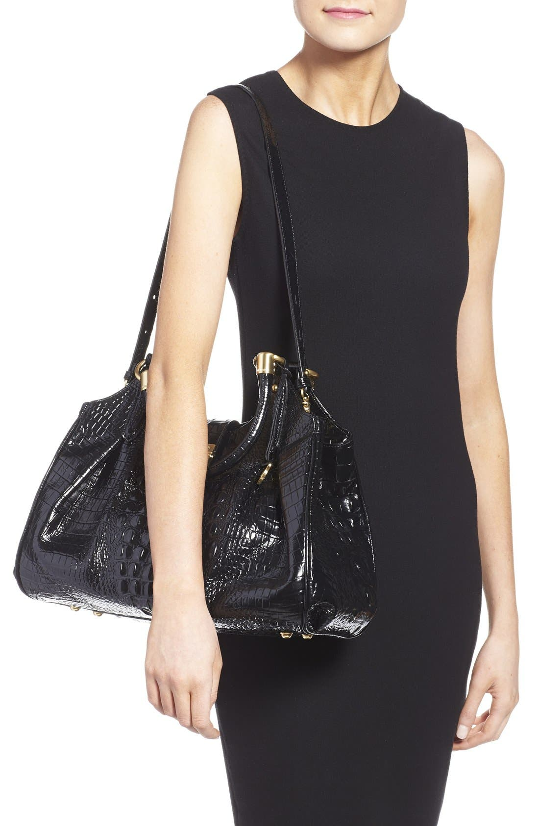 Alternate Image 2  - Brahmin Elisa Croc Embossed Leather Shoulder Bag