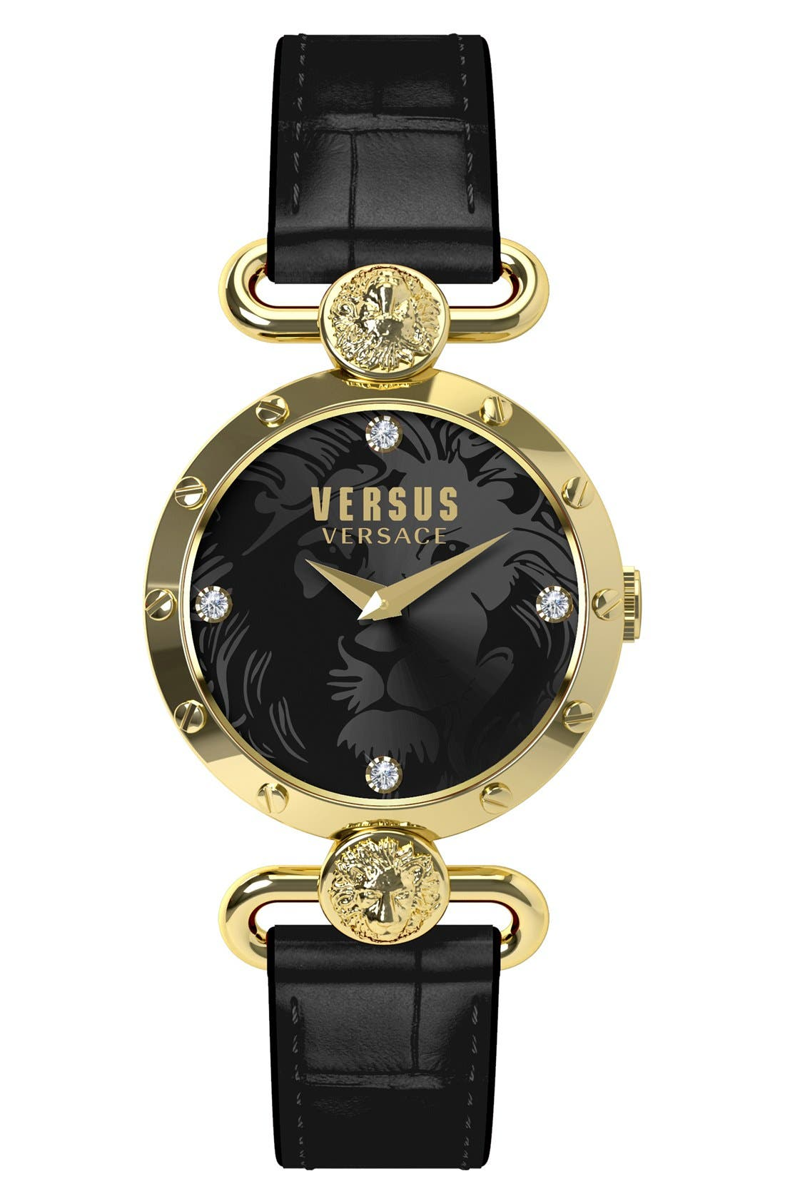 Main Image - VERSUS by Versace 'Sunnyridge' Leather Strap Watch, 34mm